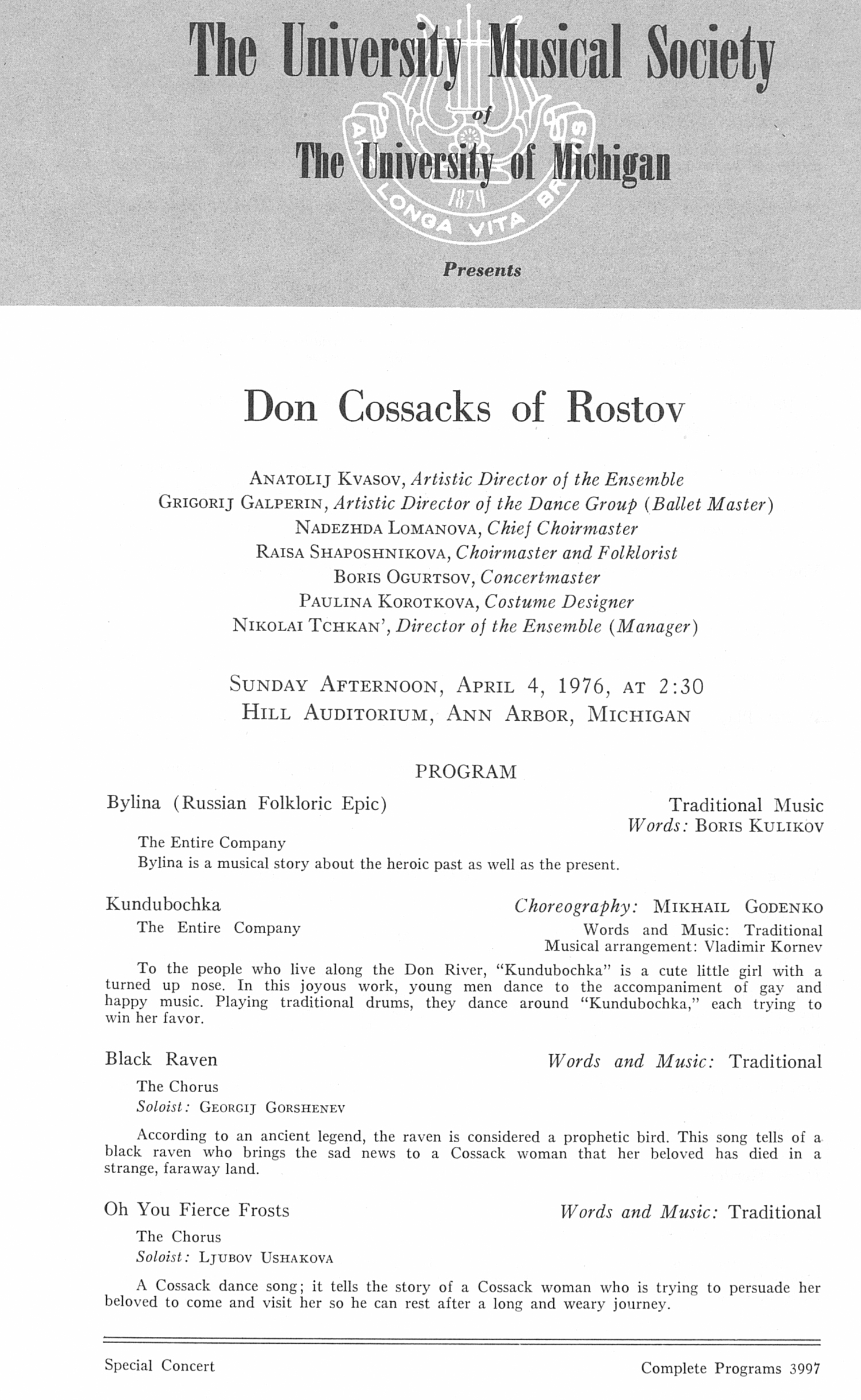UMS Concert Program, April 4, 1976: Don Cossacks Of Rostov --  image