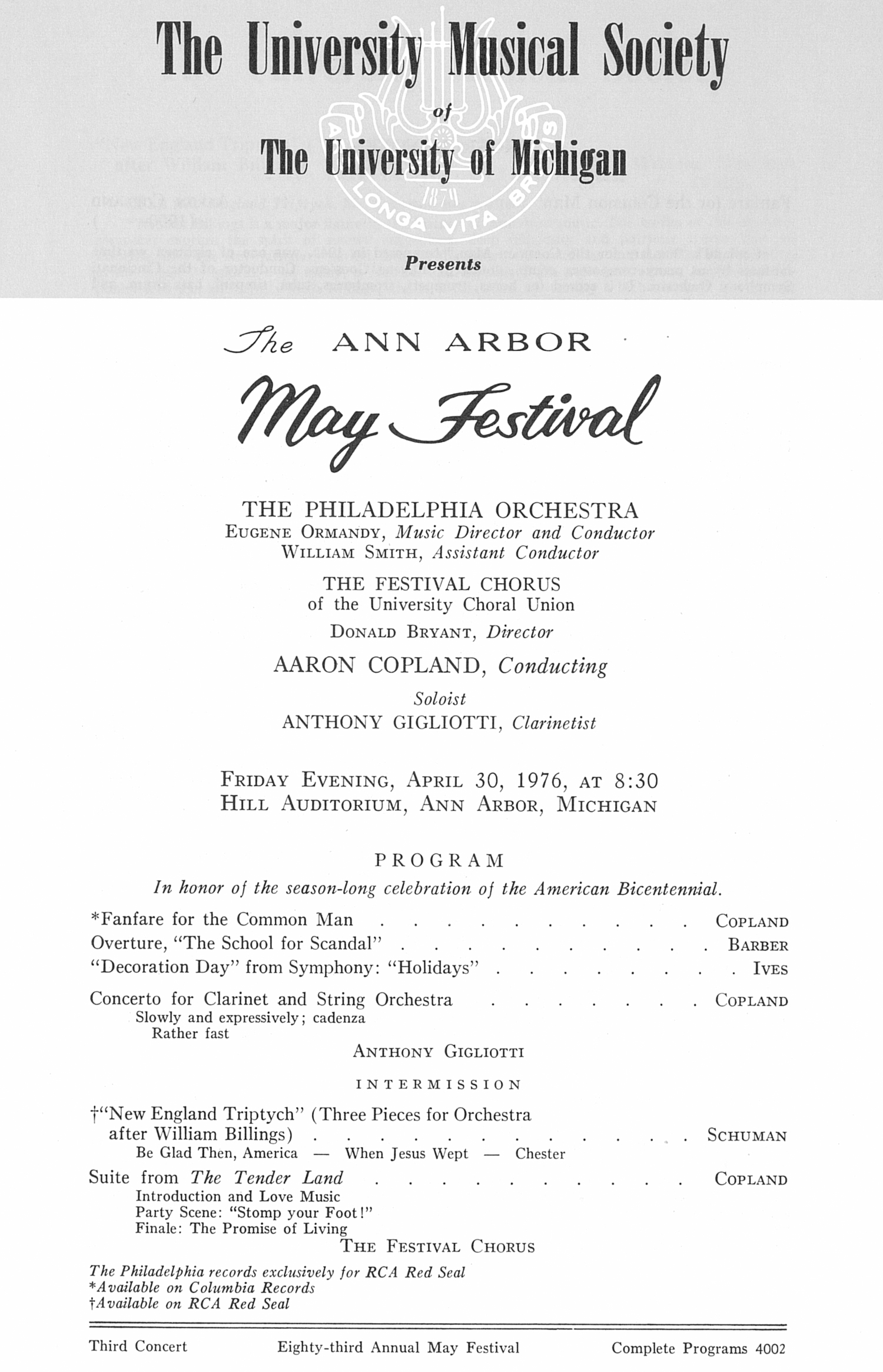 UMS Concert Program, April 30, 1976: The Ann Arbor May Festival -- The Philadelphia Orchestra image