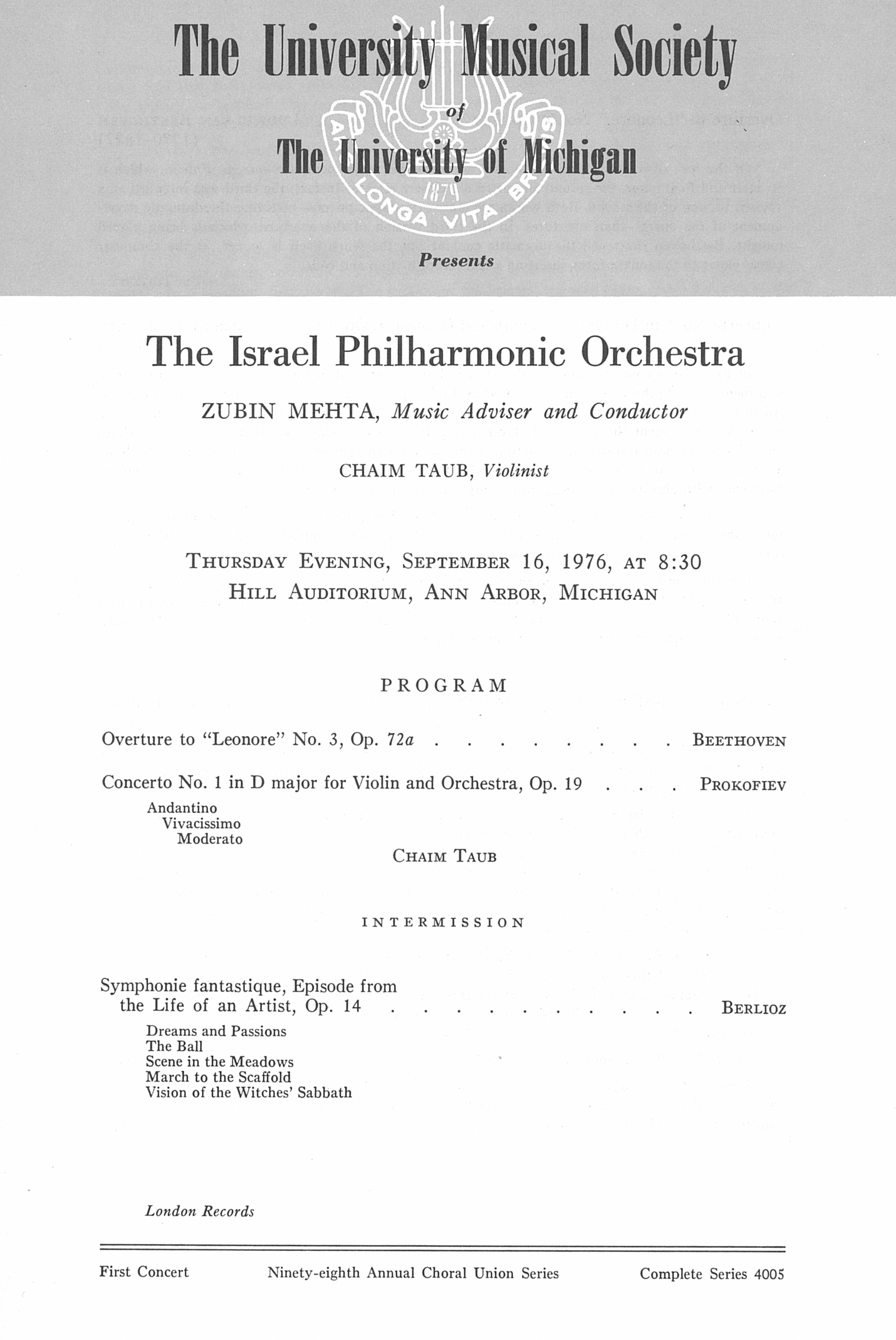 UMS Concert Program, September 16, 1976: The Israel Philharmonic Orchestra --  image