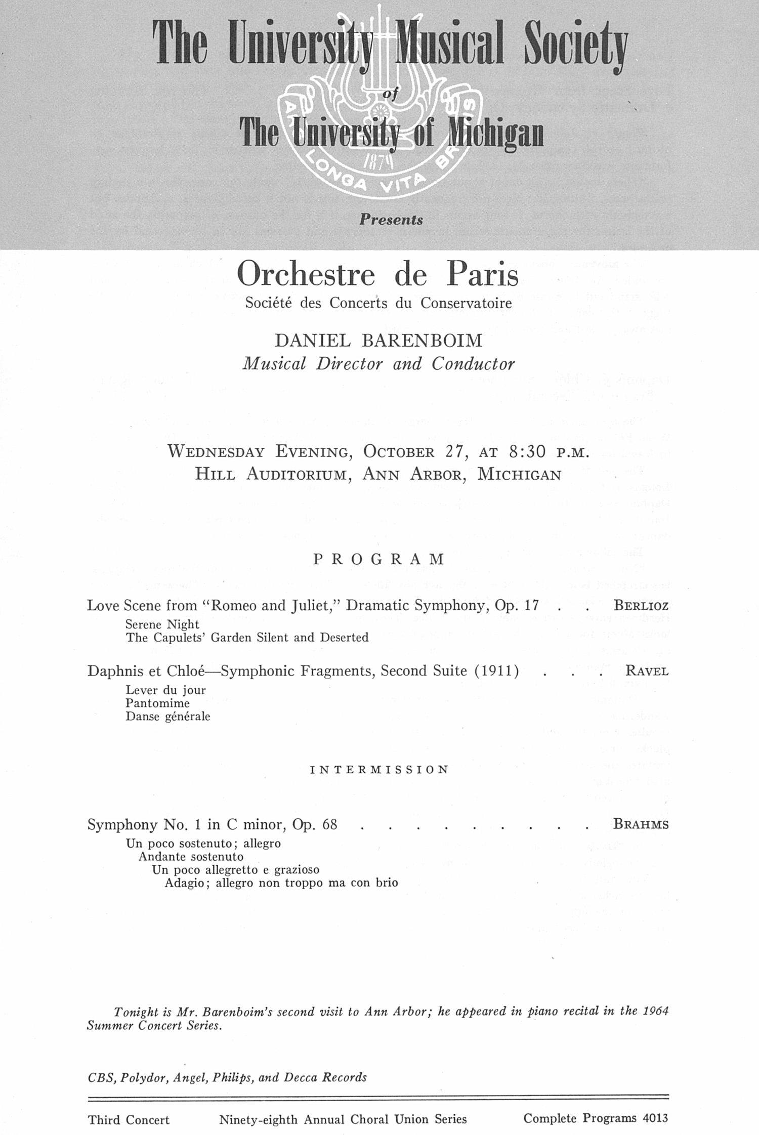 UMS Concert Program, October 27: Orchestre De Paris -- Daniel Barenboim image