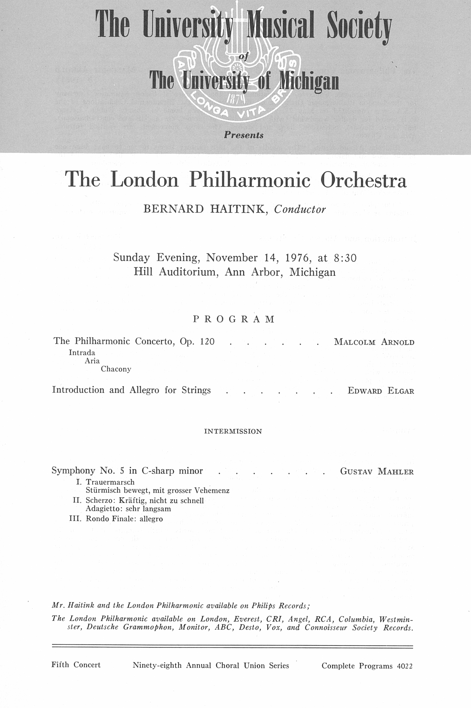 UMS Concert Program, November 14, 1976: The London Philharmonic Orchestra --  image