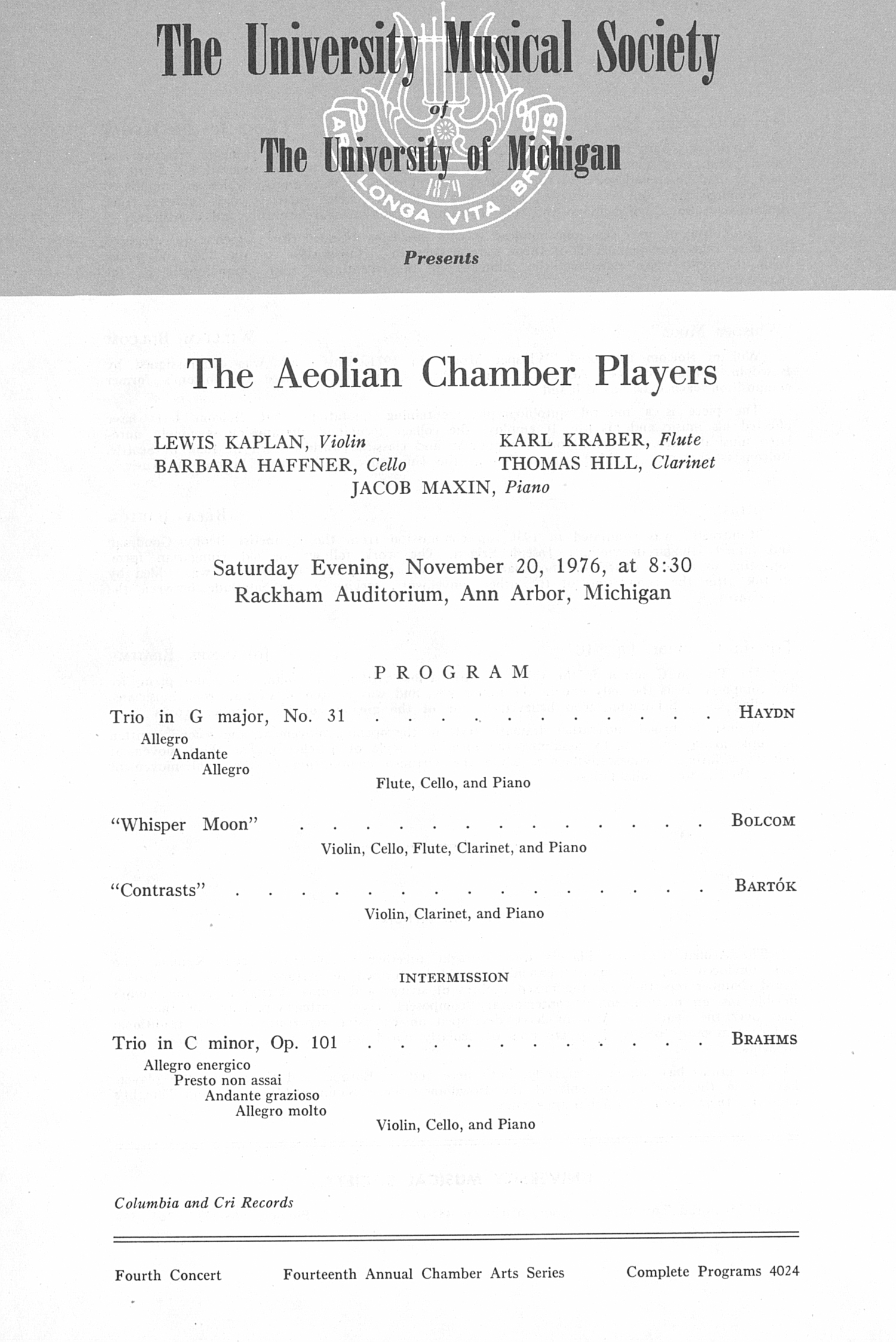 UMS Concert Program, November 20, 1976: The Aeolian Chamber Players --  image