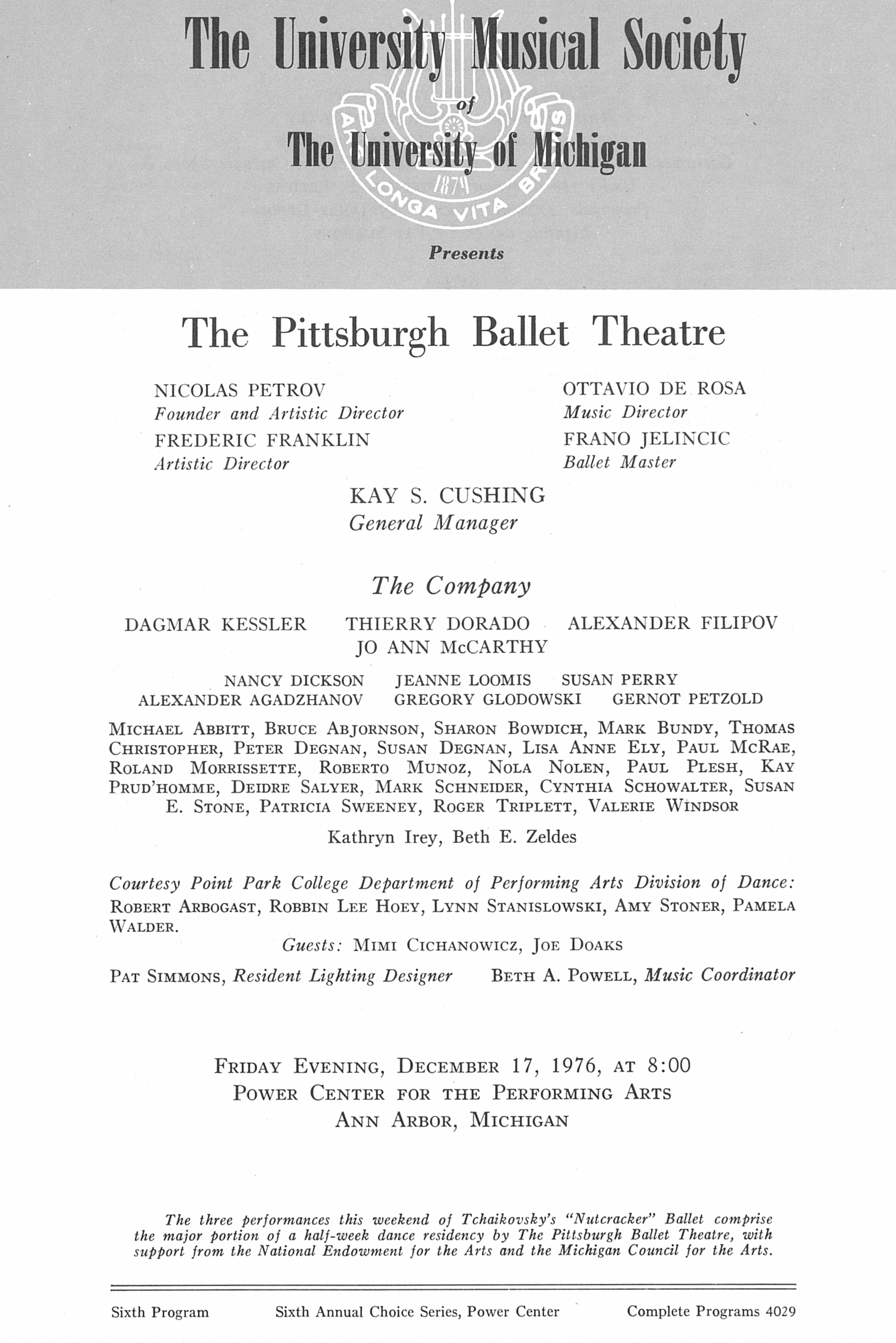UMS Concert Program, December 17, 1976: The Pittsburgh Ballet Theatre --  image