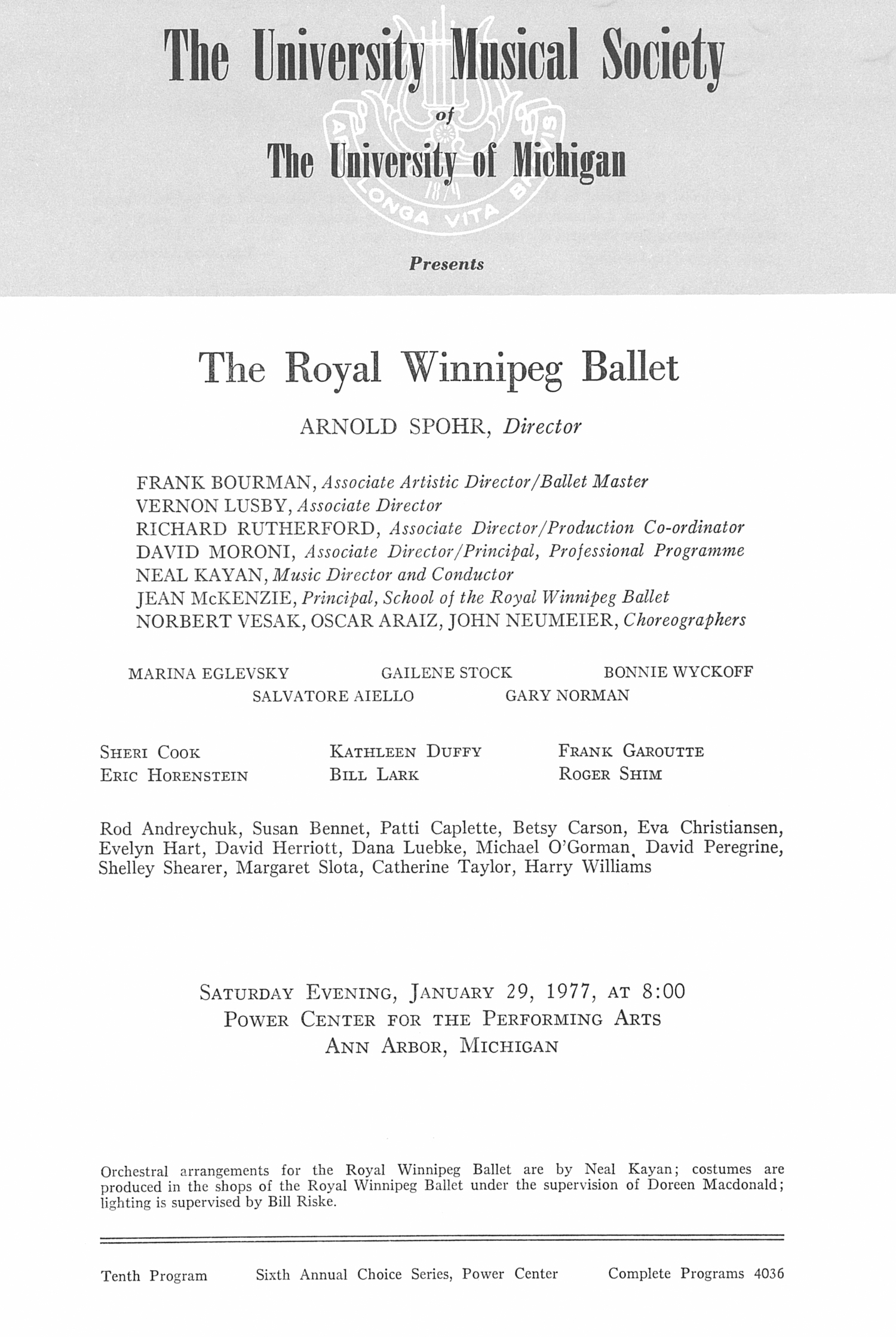 UMS Concert Program, January 29, 1977: The Royal Winnipeg Ballet -- Arnold Spohr image