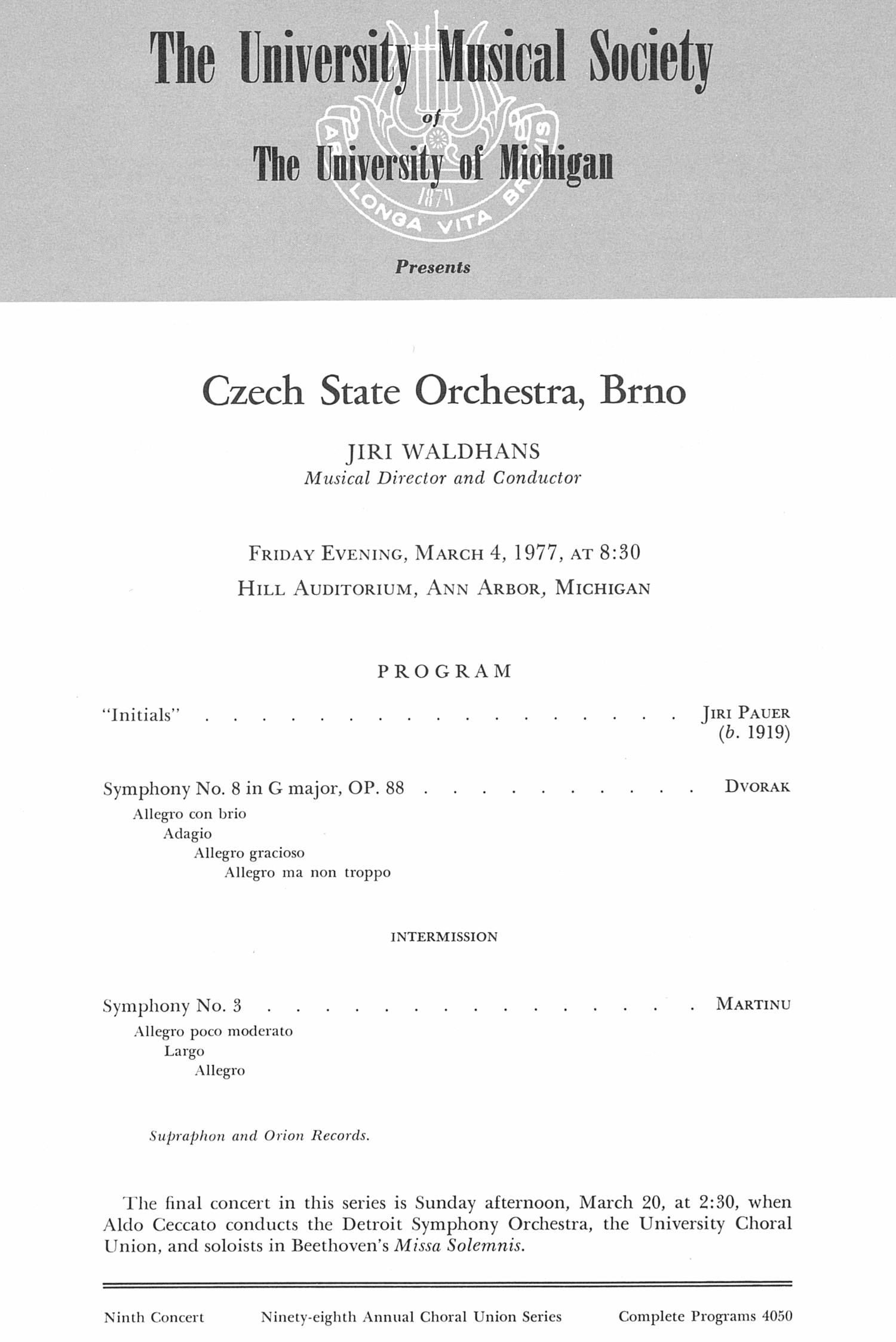UMS Concert Program, March 4, 1977: Czech State Orchestra, Brno -- Jiri Waldhans image