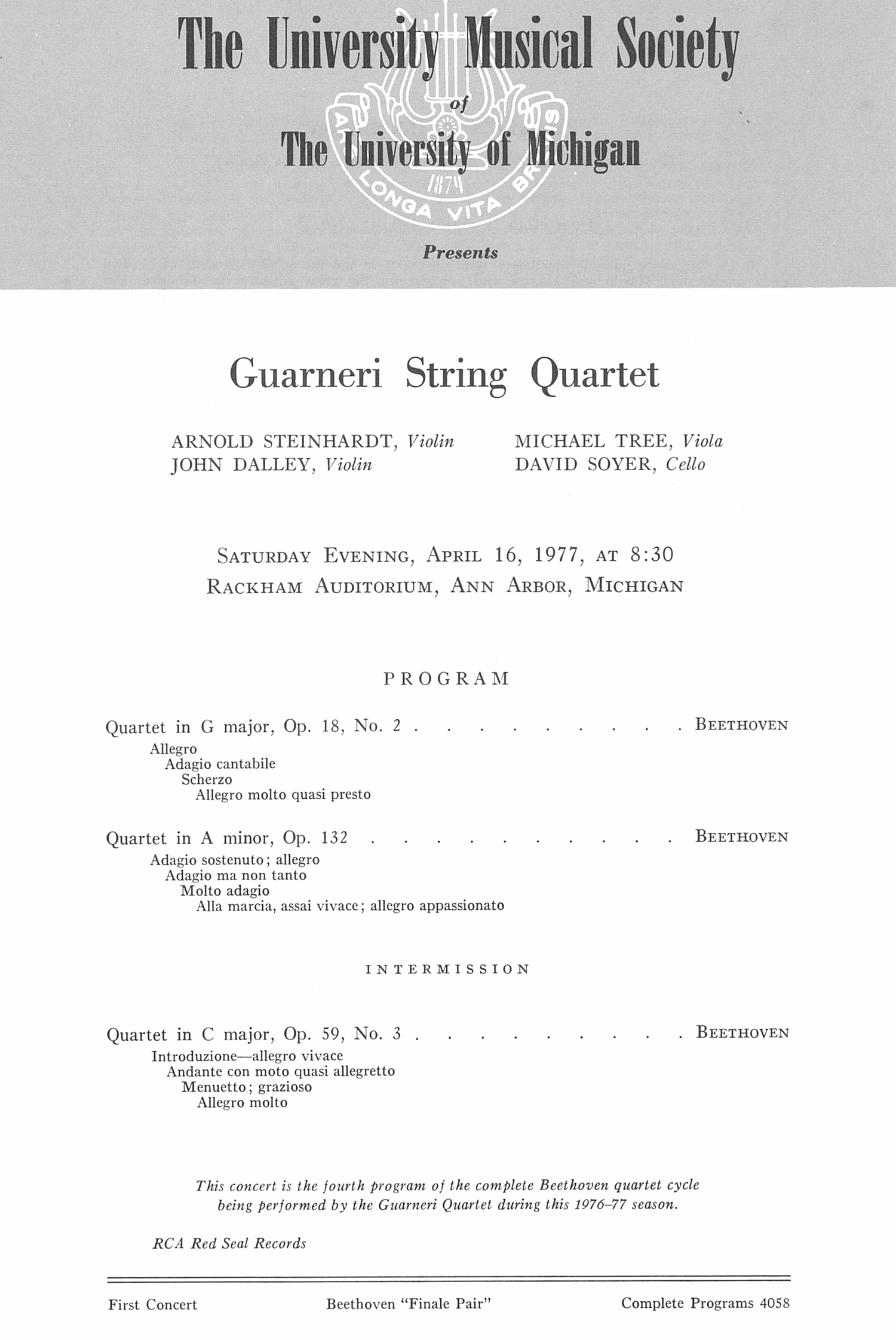 UMS Concert Program, April 16, 1977: Guarneri String Quartet