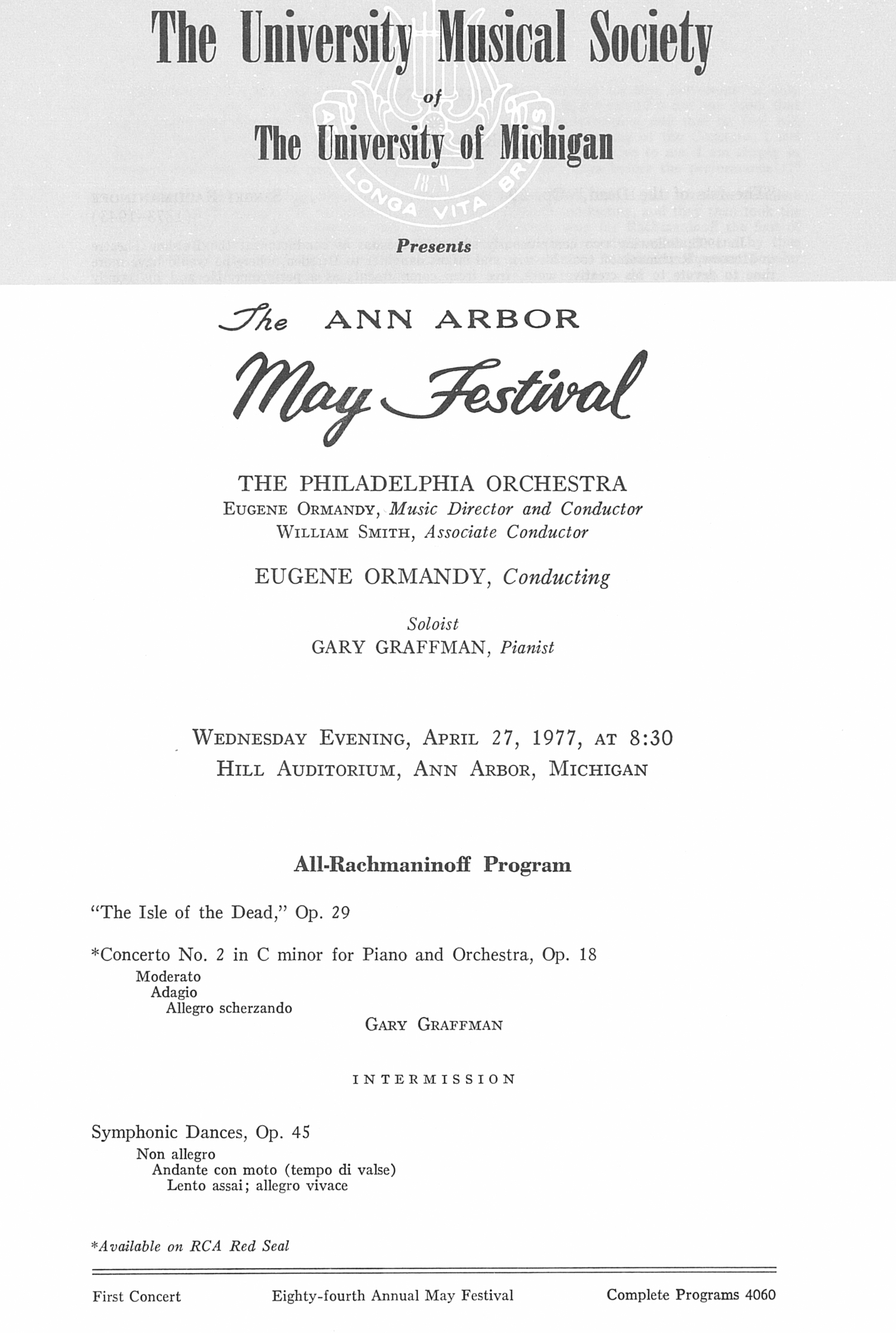 UMS Concert Program, April 27, 1977: The Ann Arbor May Festival -- The Philadelphia Orchestra image