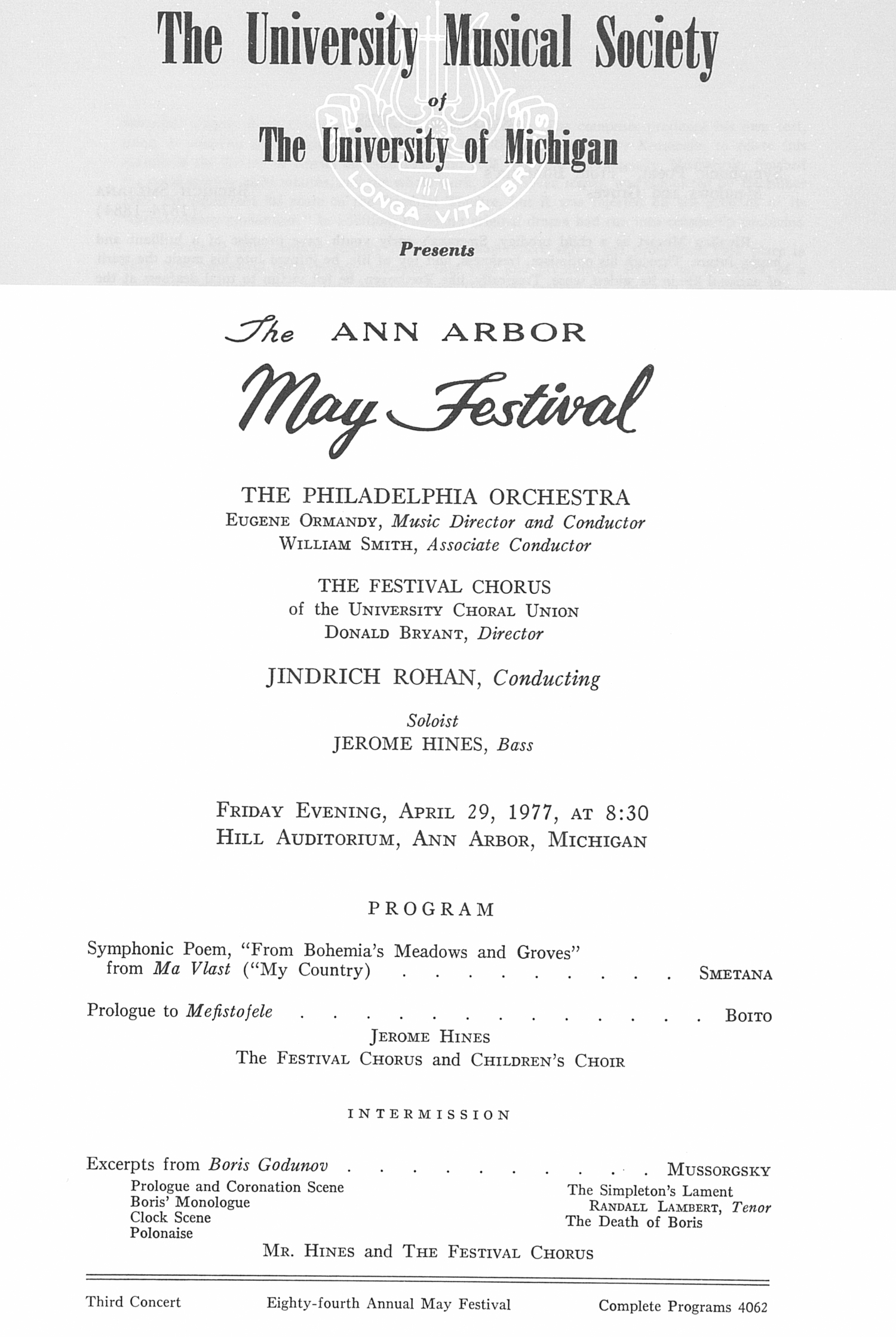 UMS Concert Program, April 29, 1977: The Ann Arbor May Festival -- The Philadelphia Orchestra image