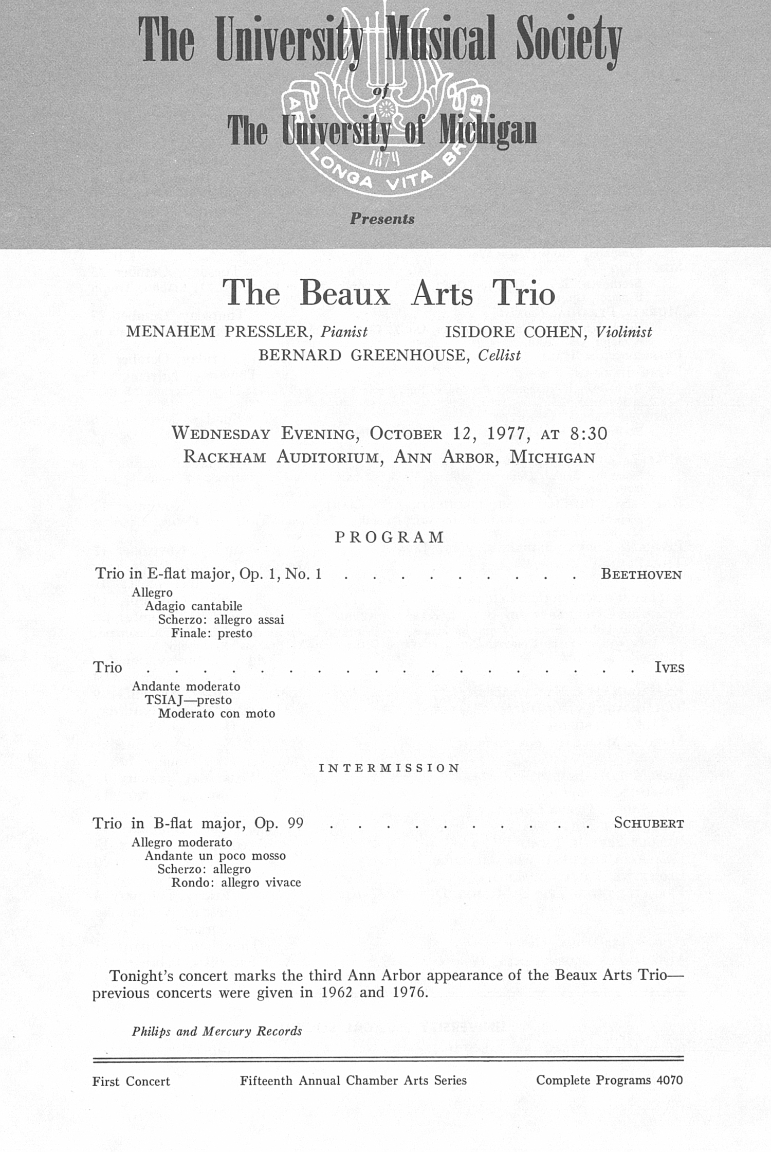 UMS Concert Program, October 12, 1977: The Beaux Arts Trio --  image