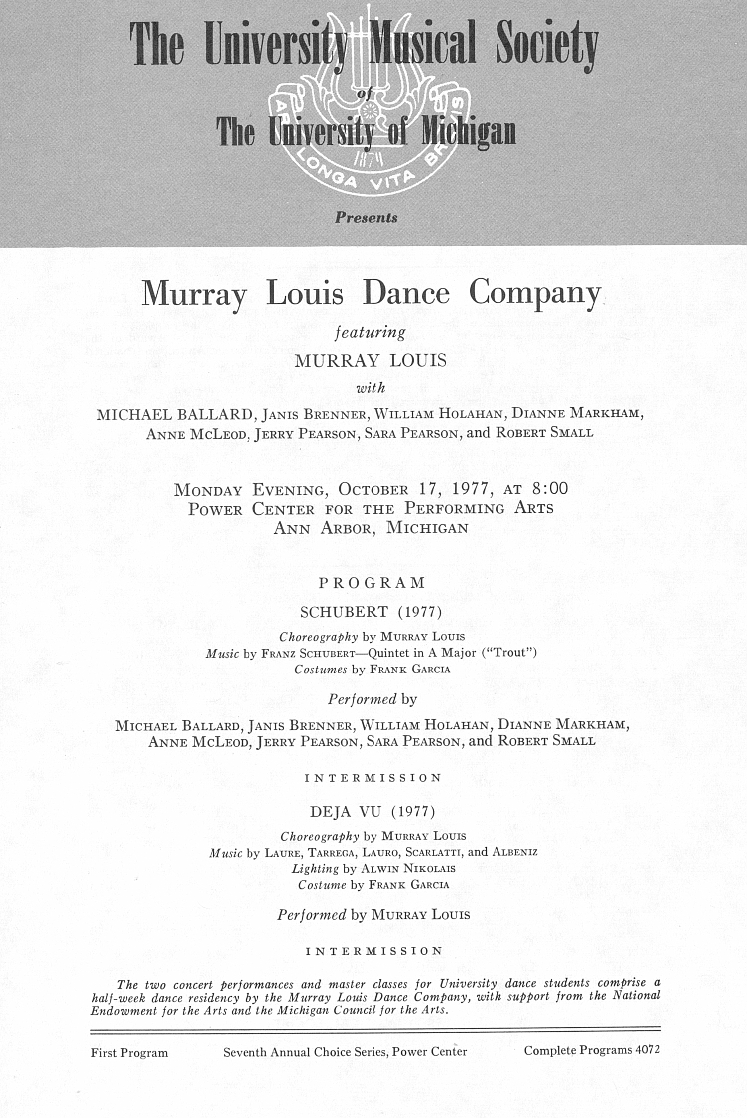 UMS Concert Program, October 17, 1977: Murray Louis Dance Company -- Murray Louis image