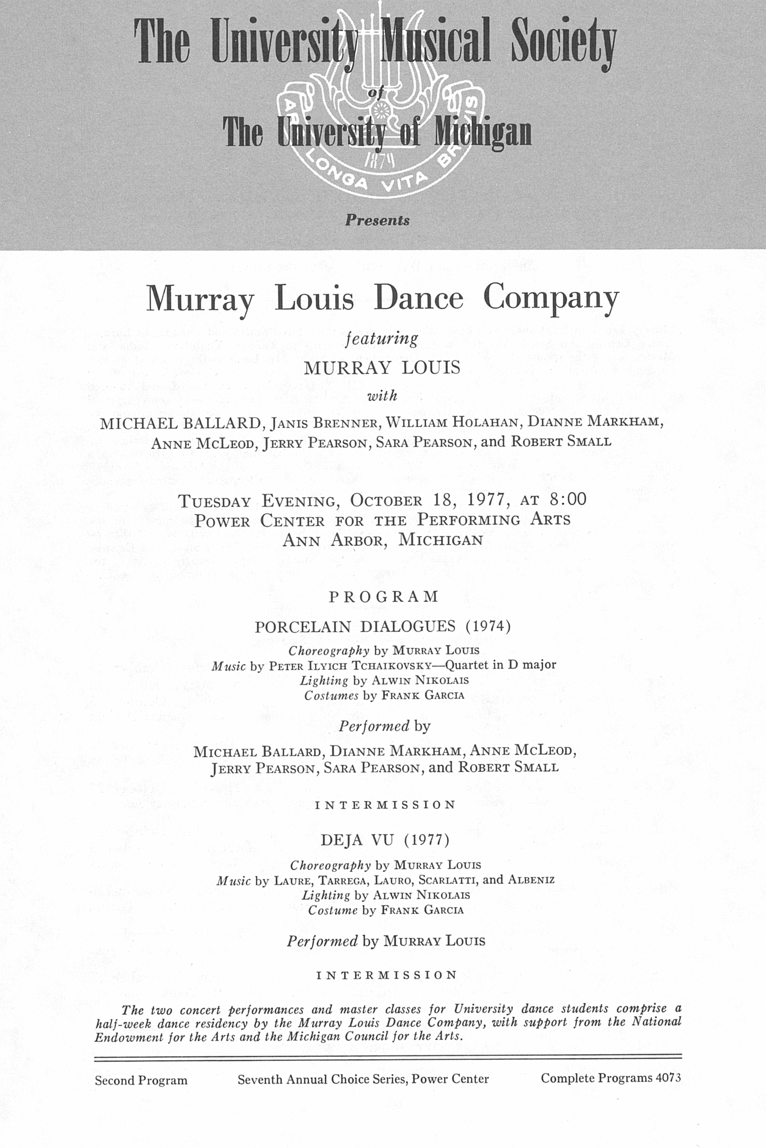 UMS Concert Program, October 18, 1977: Murray Louis Dance Company -- Murray Louis image