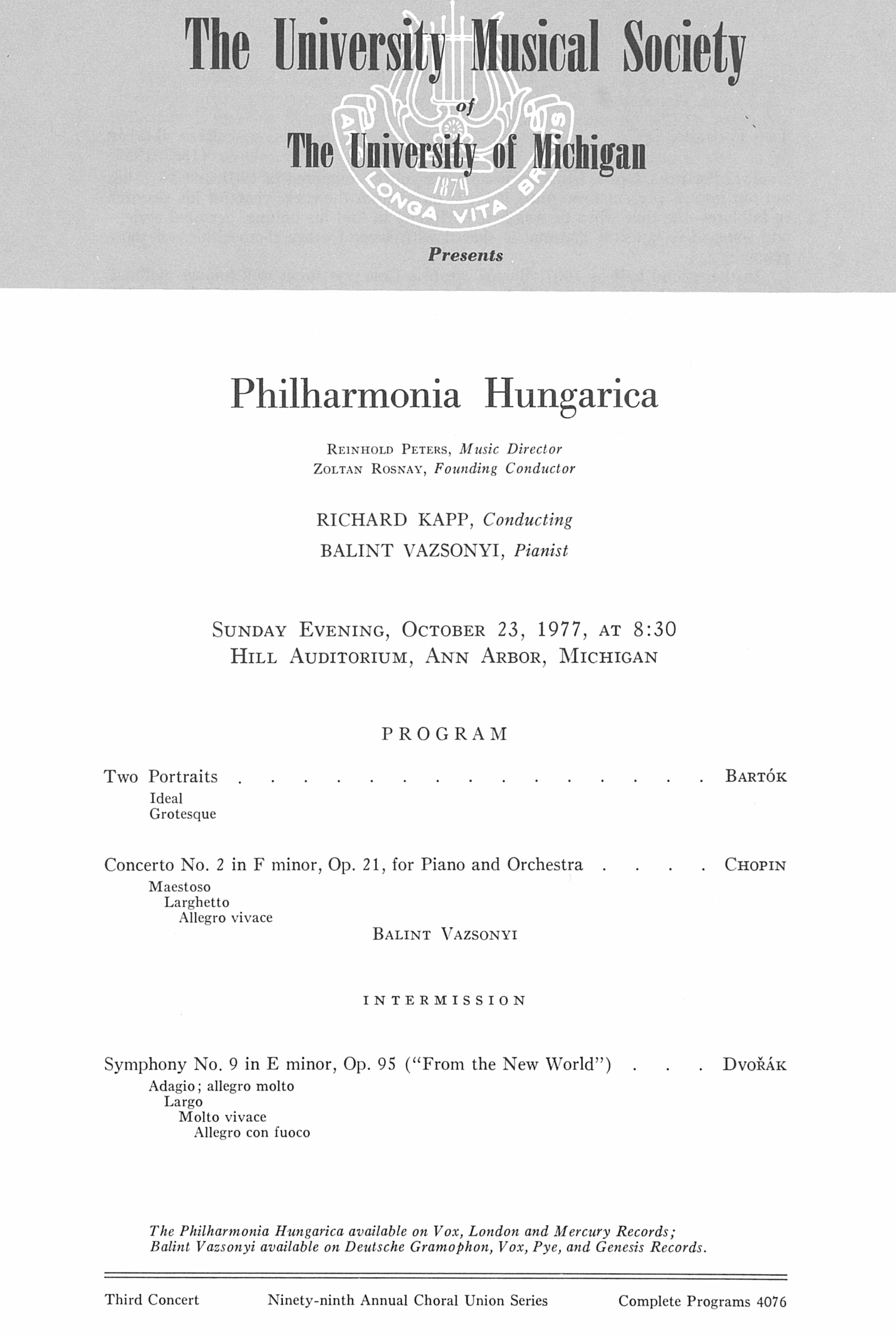 UMS Concert Program, October 23, 1977: Philharmonia Hungarica --  image