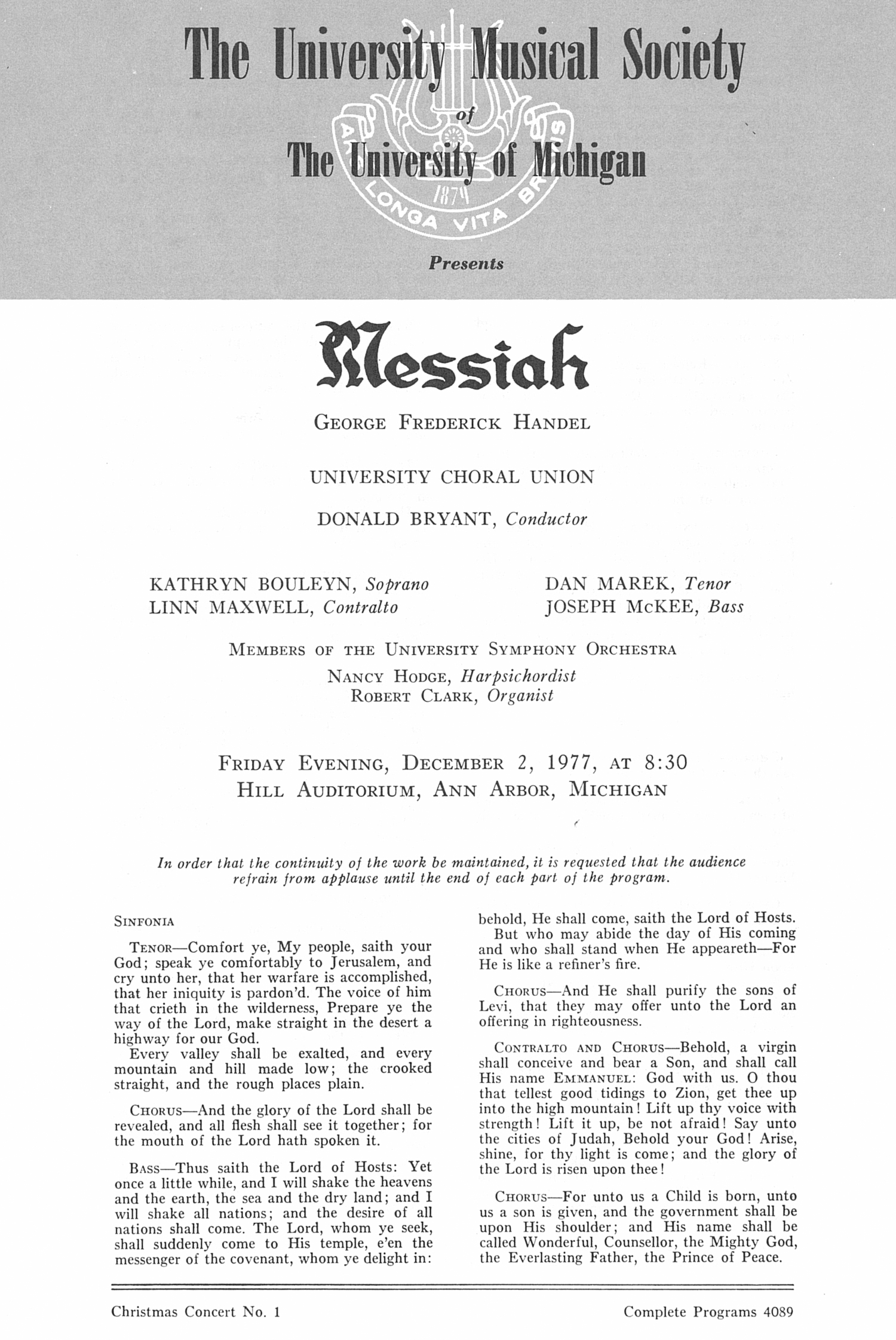 UMS Concert Program, December 2, 1977: Messiah -- George Frederick Handel image