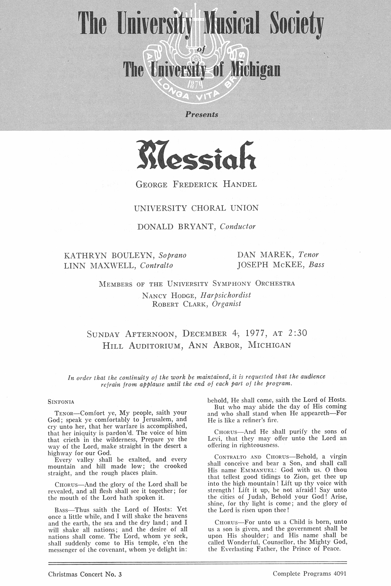 UMS Concert Program, December 4, 1977: Messiah -- George Frederick Handel image