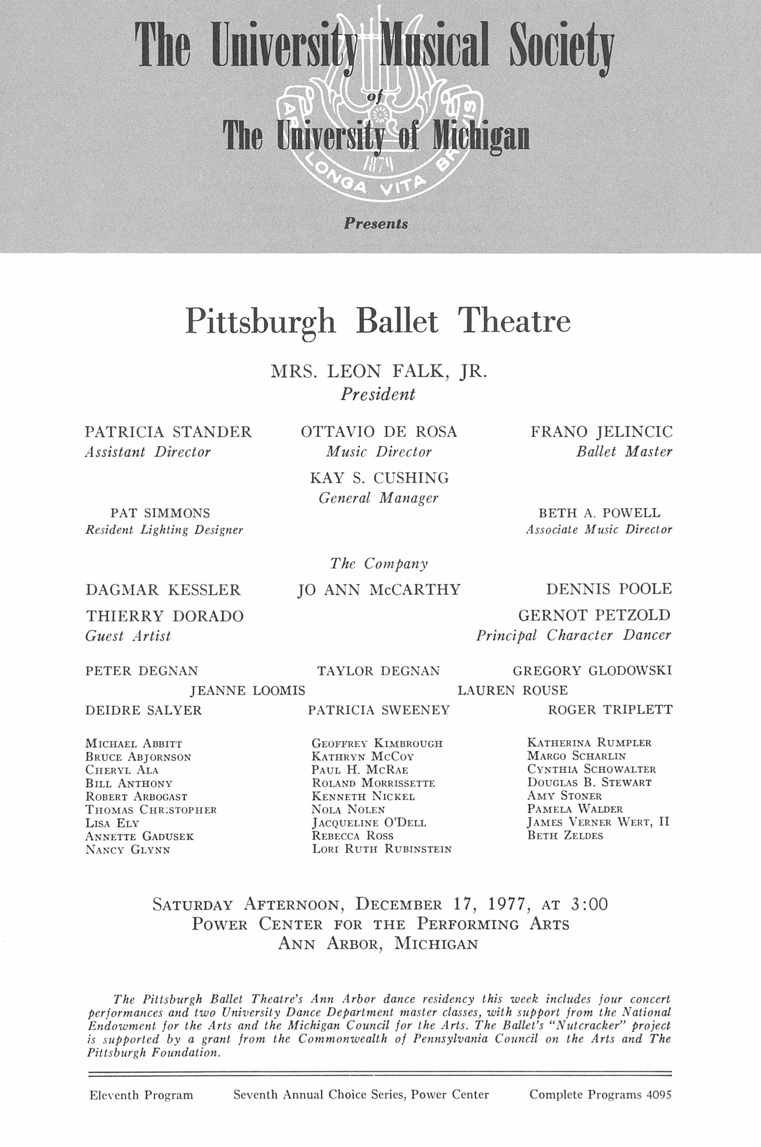 UMS Concert Program, December 17, 1977: Pittsburgh Ballet Theatre -- Mrs. Leon Falk, Jr. image