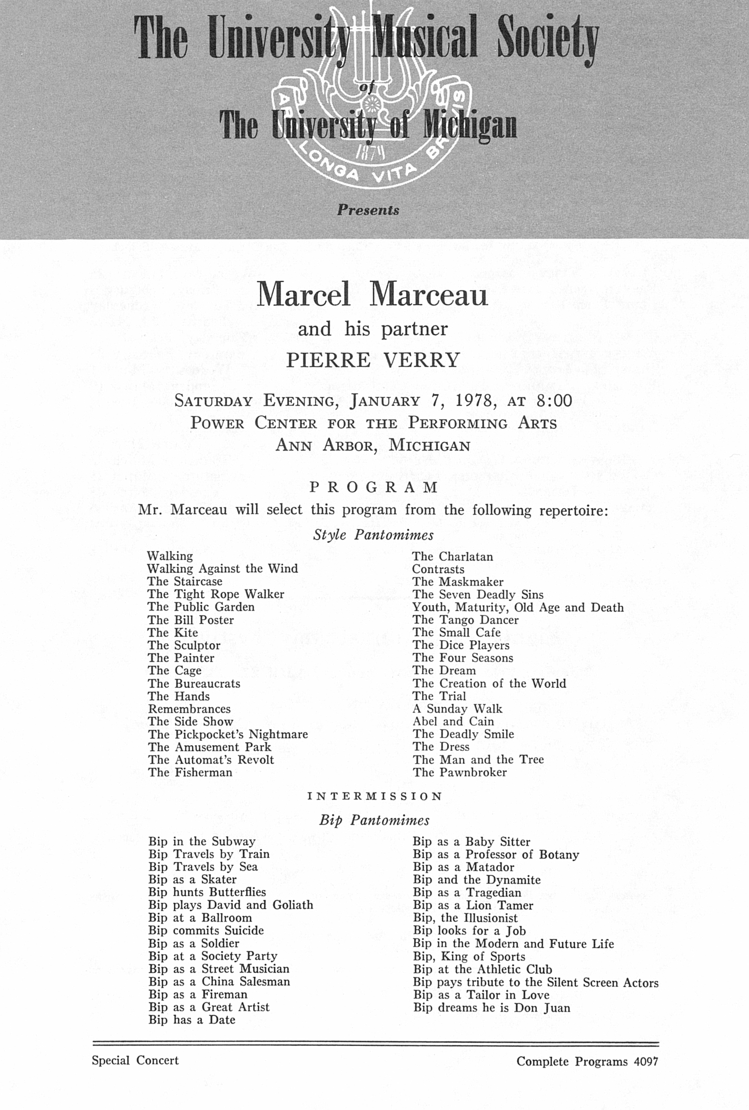 UMS Concert Program, January 7, 1978: Marcel Marceau And His Partner Pierre Verry --  image