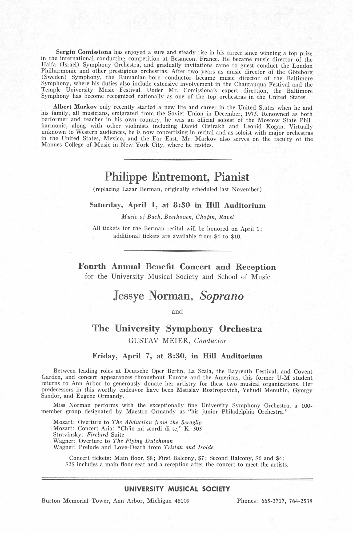 UMS Concert Program, March 19, 1978: Baltimore Symphony Orchestra --  image