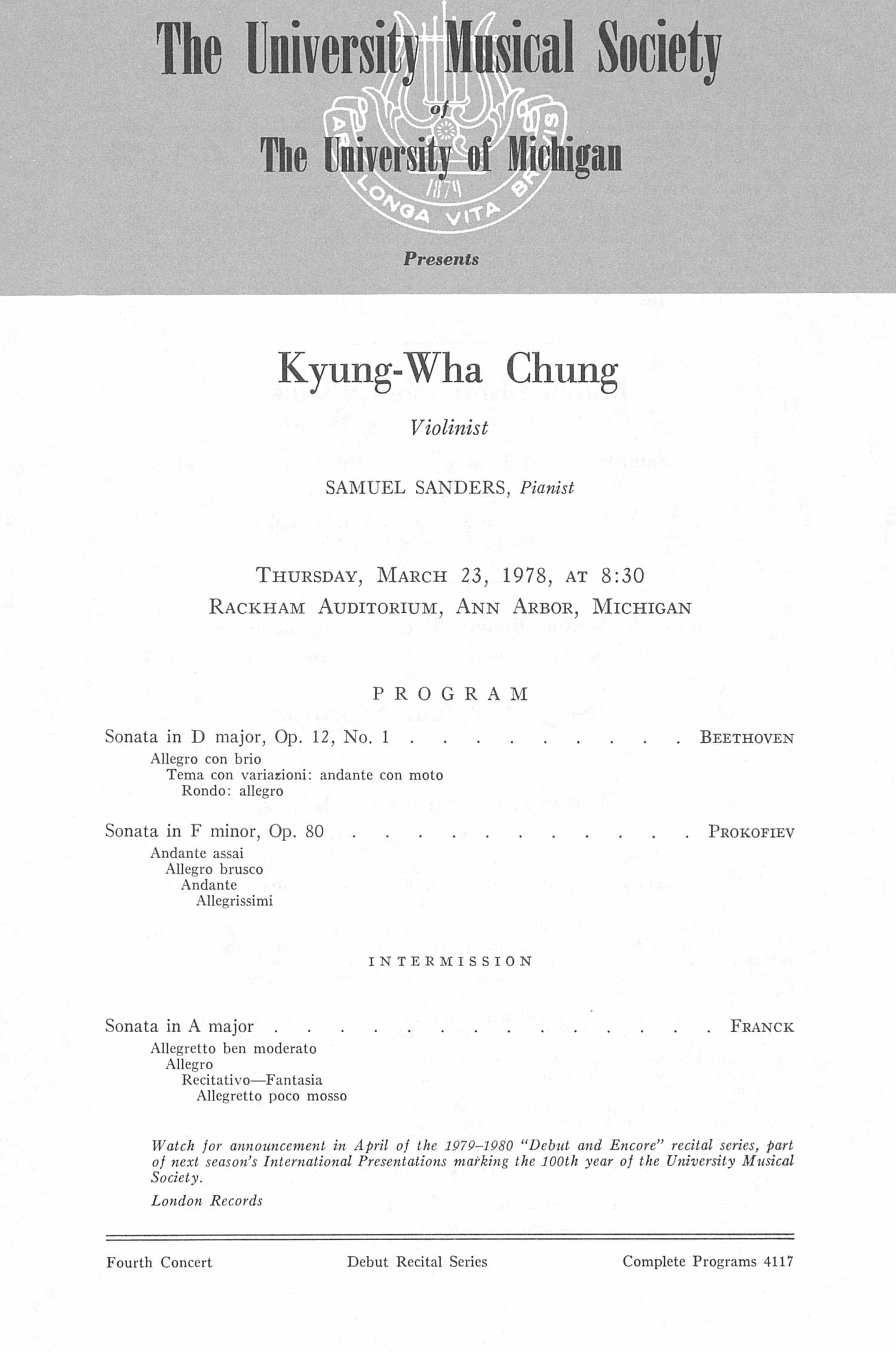 UMS Concert Program, March 23, 1978: Kyung-wha Chung --  image