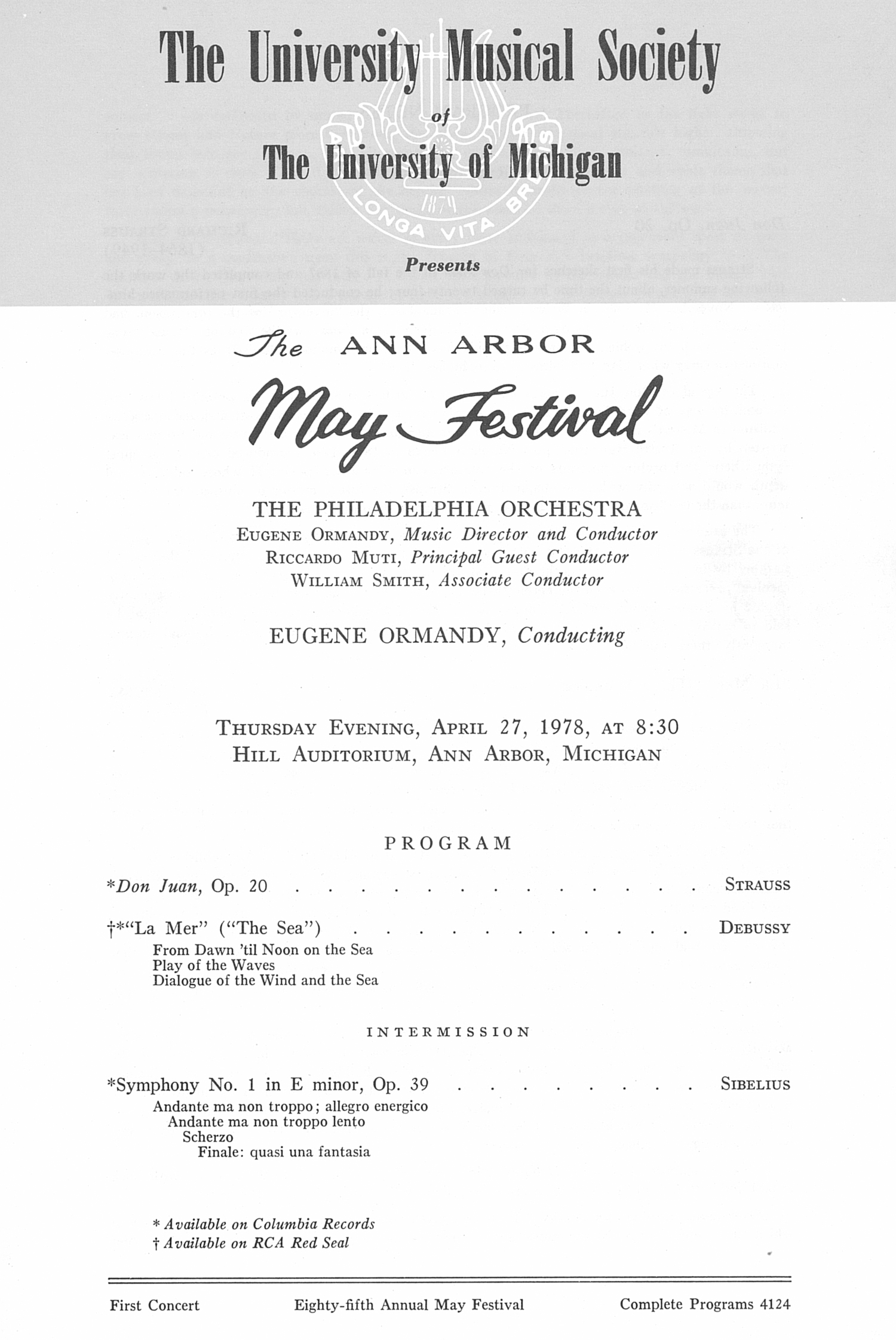 UMS Concert Program, April 27, 1978: The Ann Arbor May Festival -- The Philadelphia Orchestra image