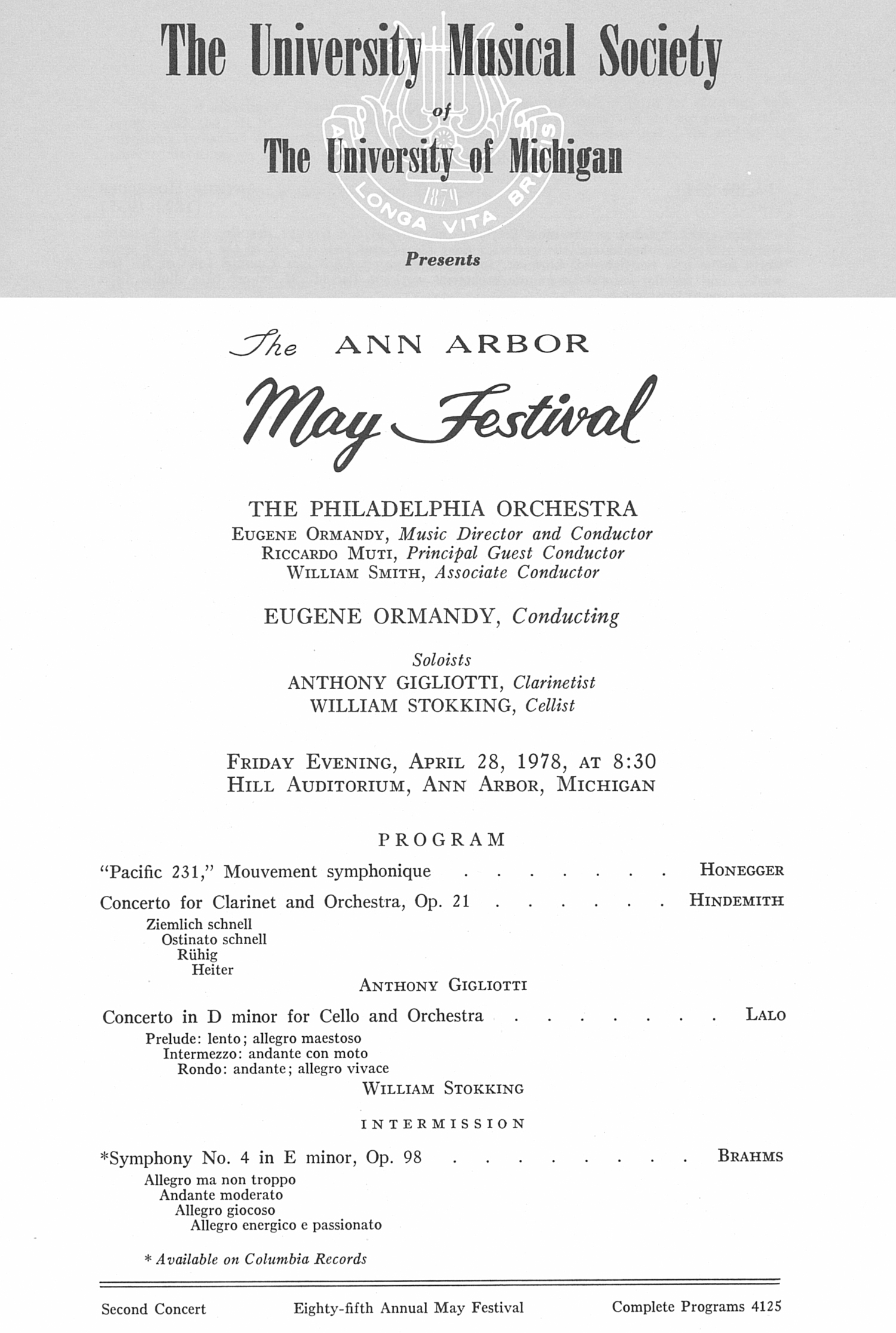 UMS Concert Program, April 28, 1978: The Ann Arbor May Festival -- The Philadelphia Orchestra image
