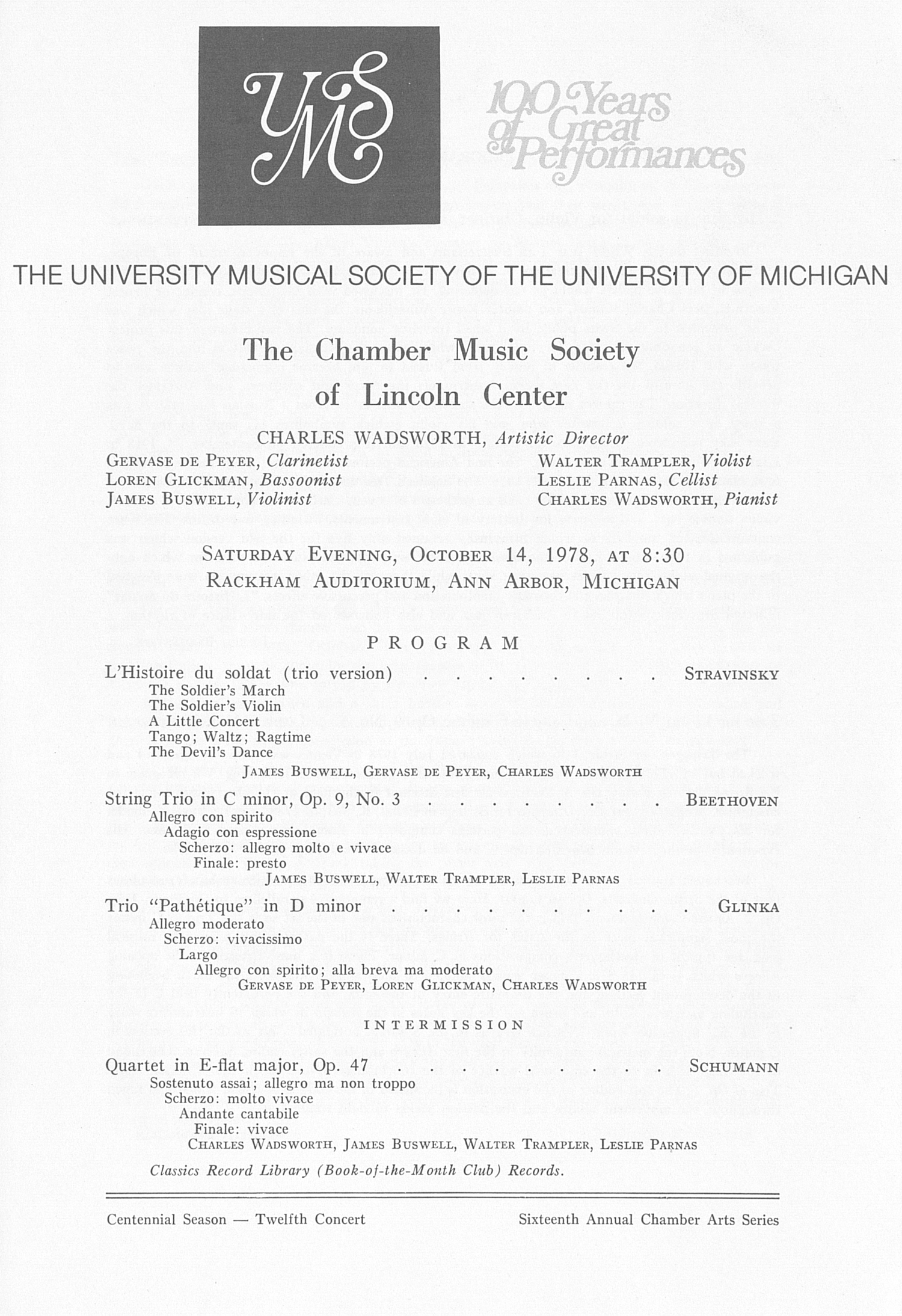 UMS Concert Program, October 14, 1978: The Chamber Music Society Of Lincoln Center -- Charles Wadsworth image