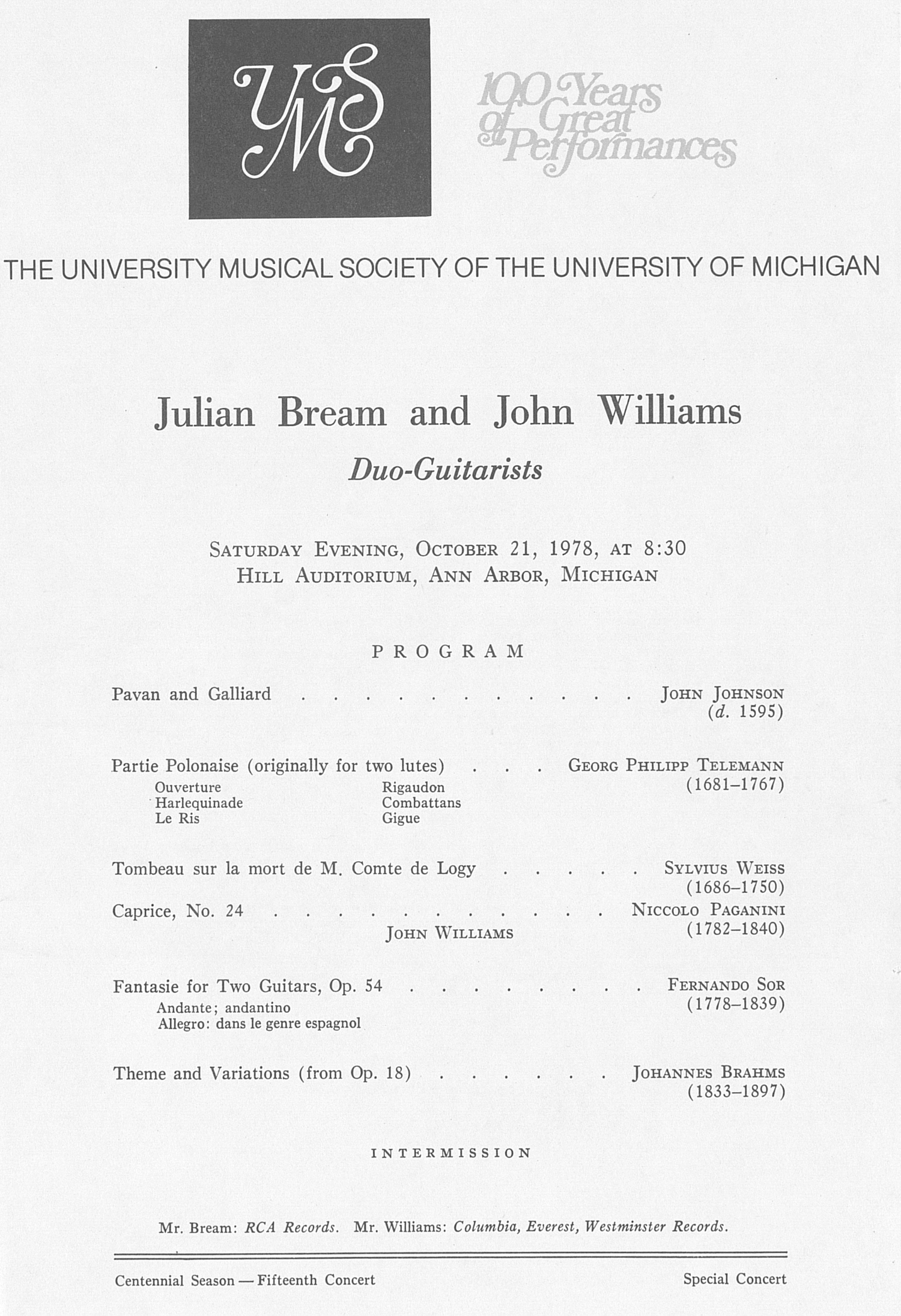 UMS Concert Program, October 21, 1978: Julian Bream And John Williams --  image