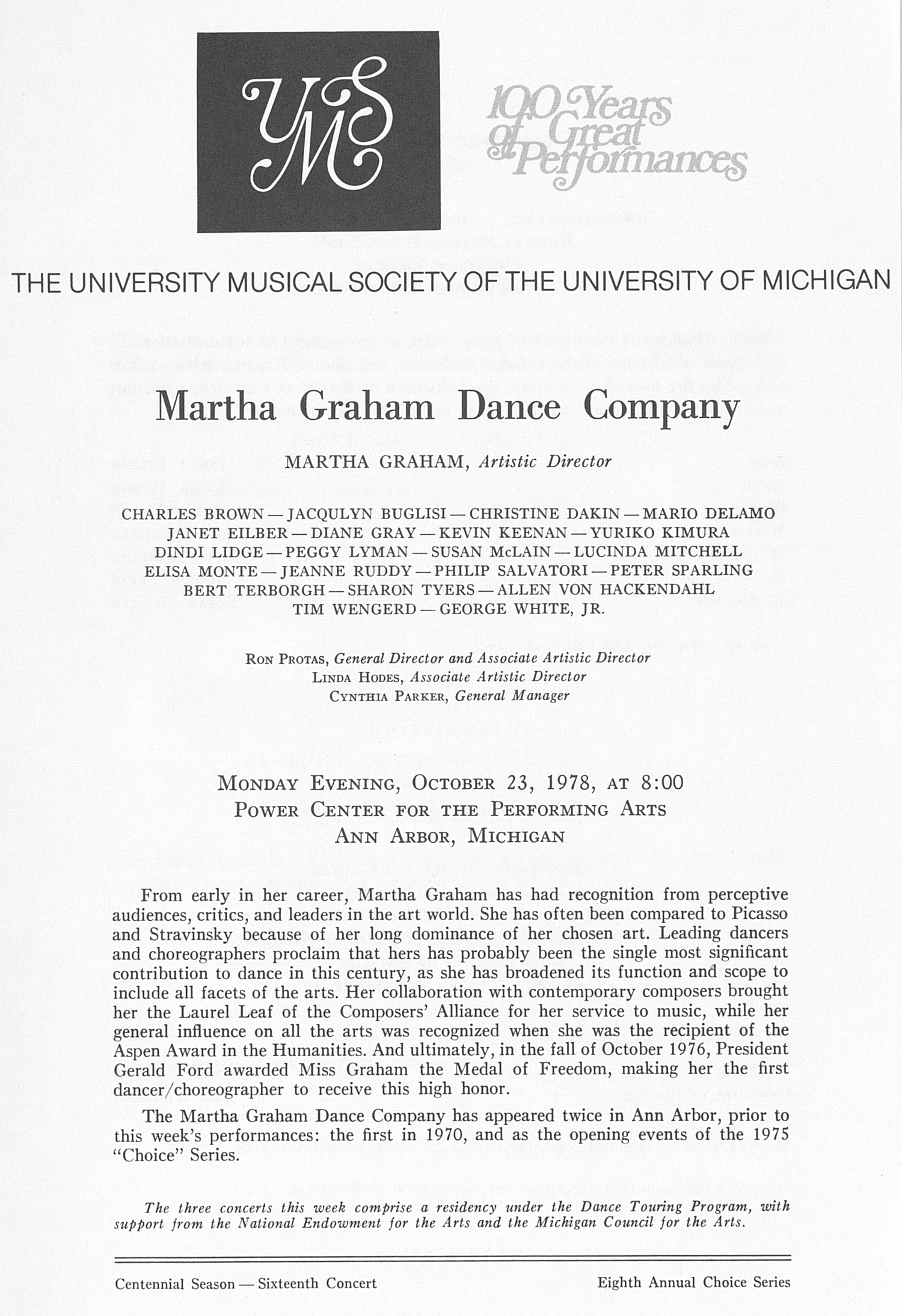 UMS Concert Program, October 23, 1978: Martha Graham Dance Company -- Martha Graham image