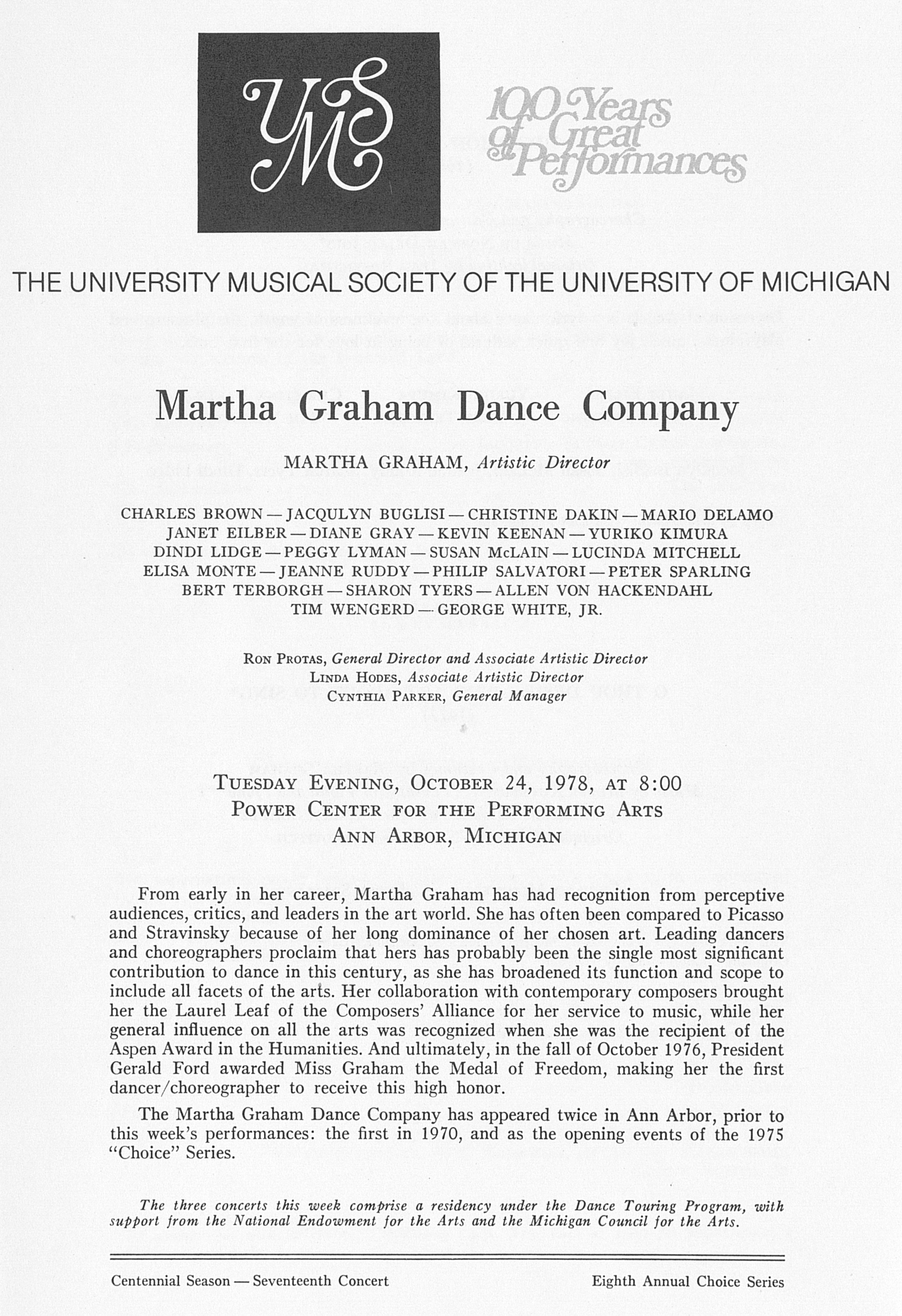 UMS Concert Program, October 24, 1978: Martha Graham Dance Company -- Martha Graham image