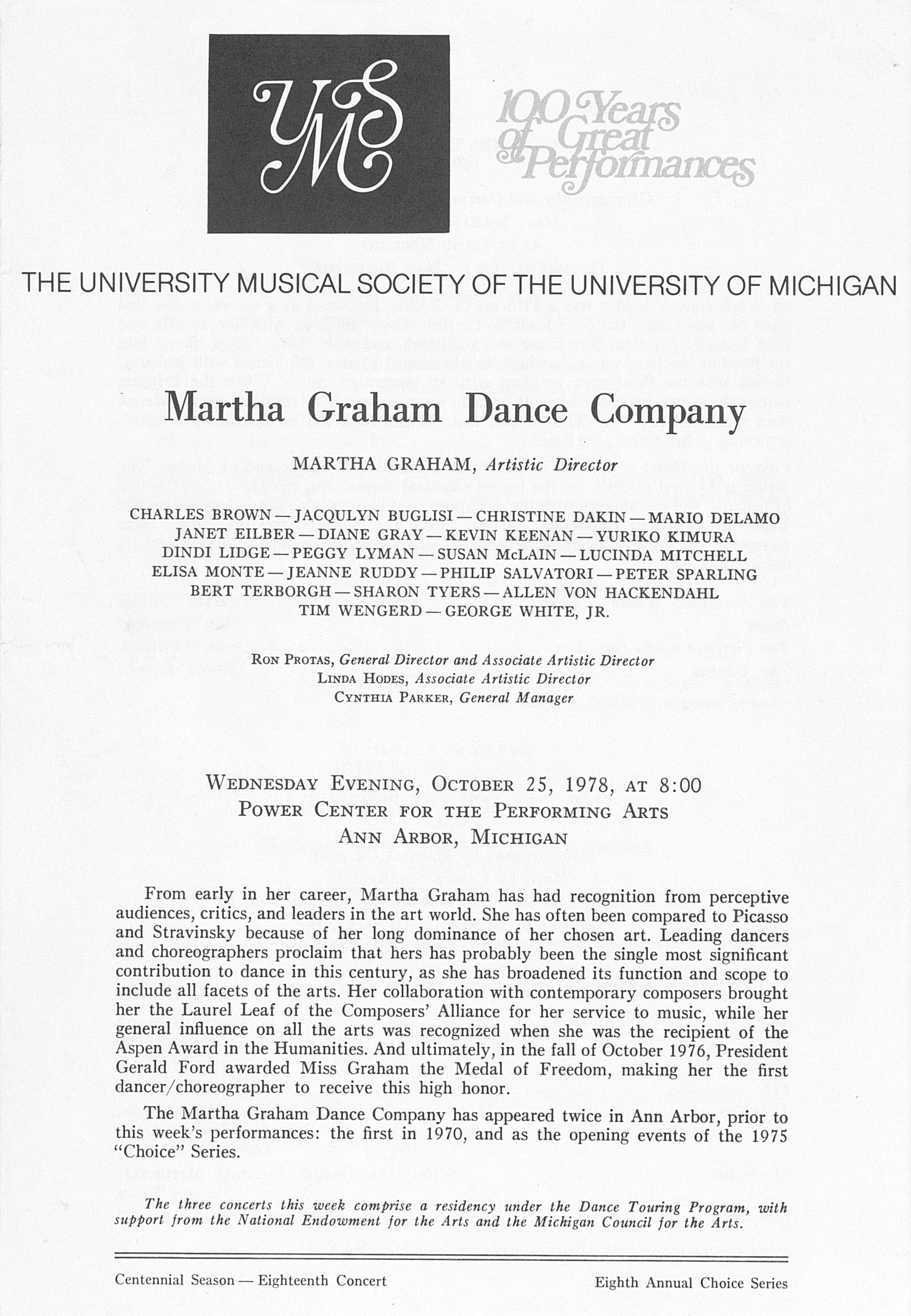 UMS Concert Program, October 25, 1978: Martha Graham Dance Company -- Martha Graham image