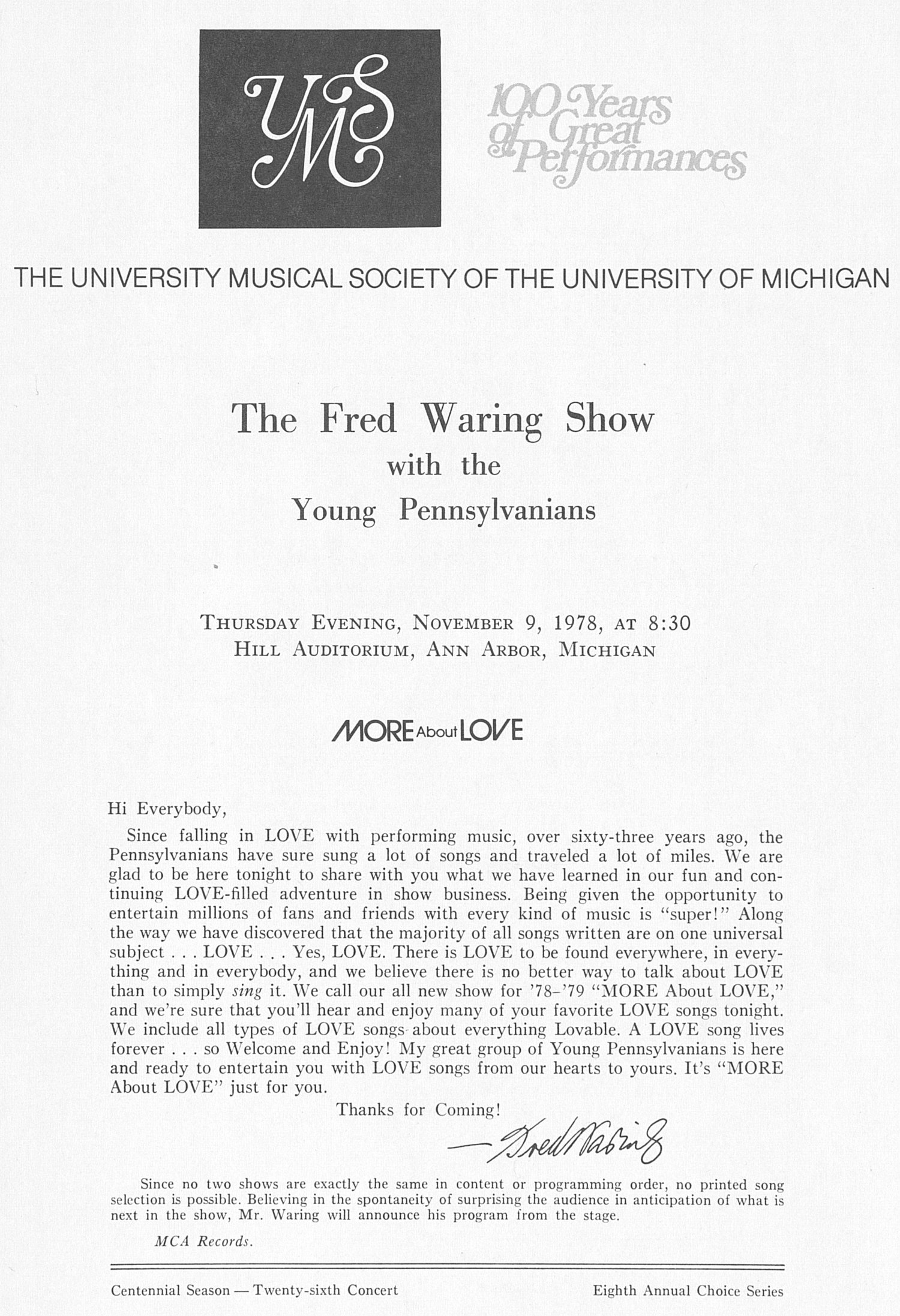 UMS Concert Program, November 9, 1978: The Fred Waring Show With The Young Pennsylvanians --  image