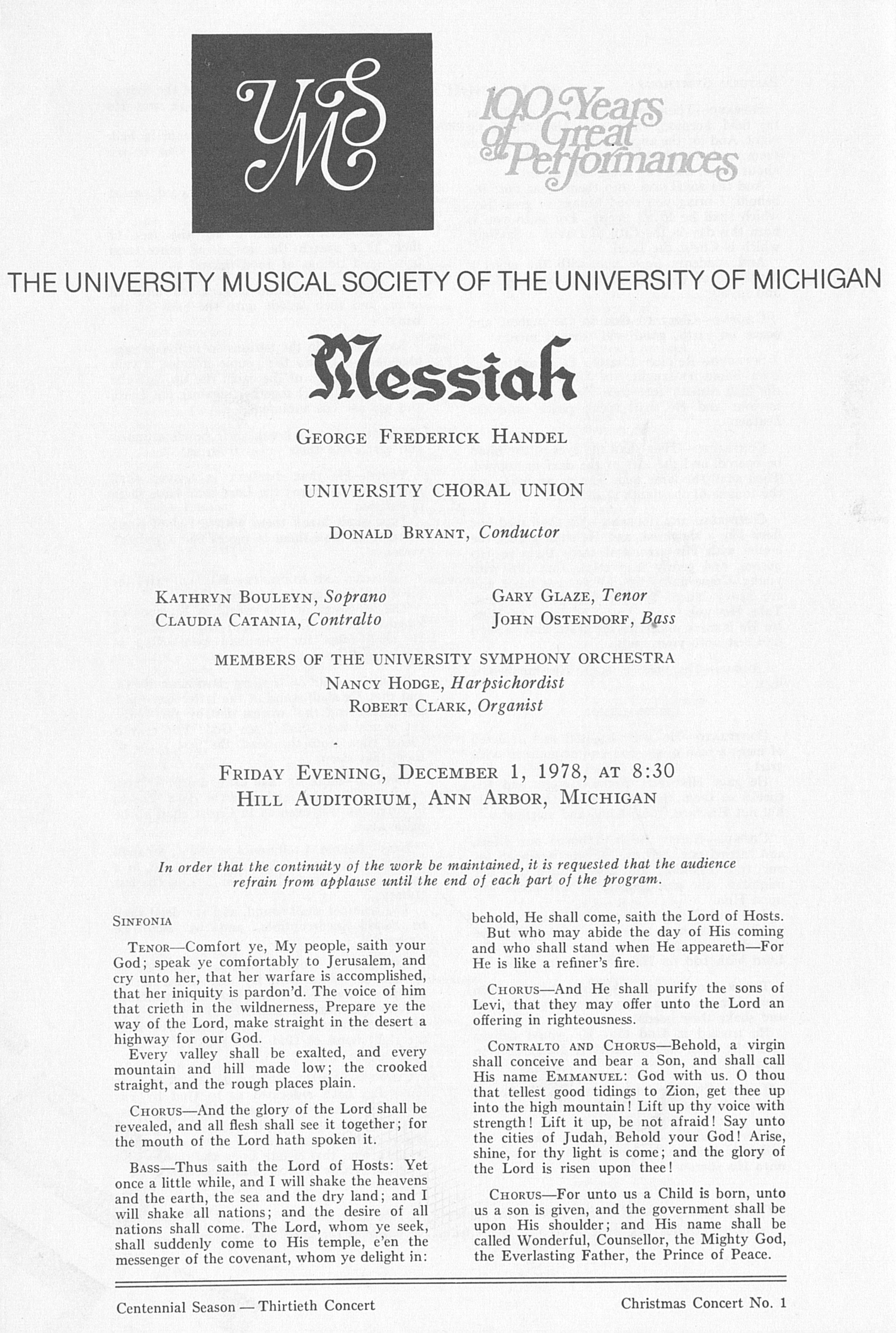 UMS Concert Program, December 1, 1978: Messiah -- George Frederick Handel image
