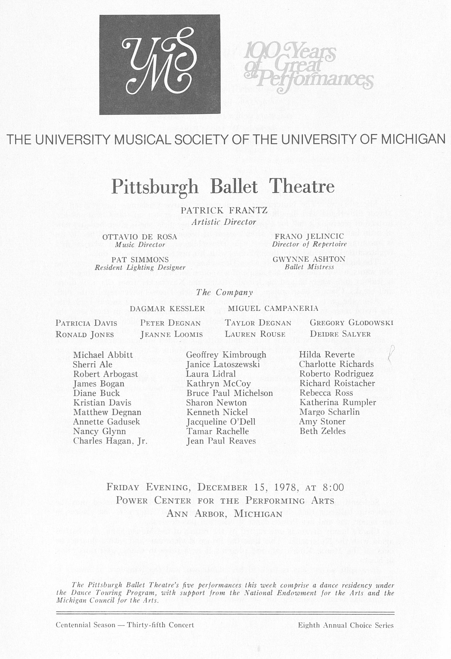 UMS Concert Program, December 15, 1978: Pittsburgh Ballet Theatre -- Patrick Frantz image