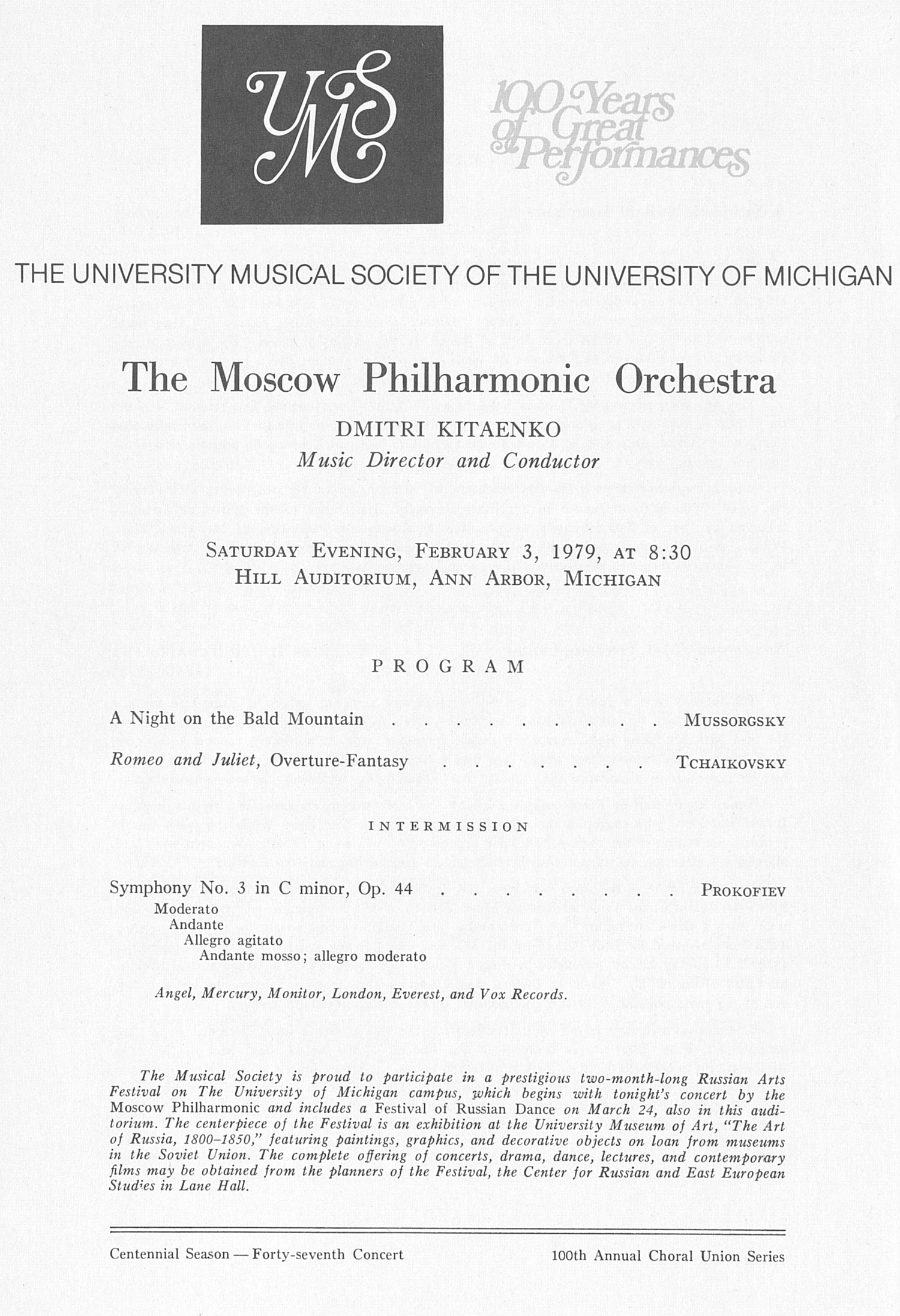 UMS Concert Program, February 3, 1979: The Moscow Philharmonic Orchestra --  image