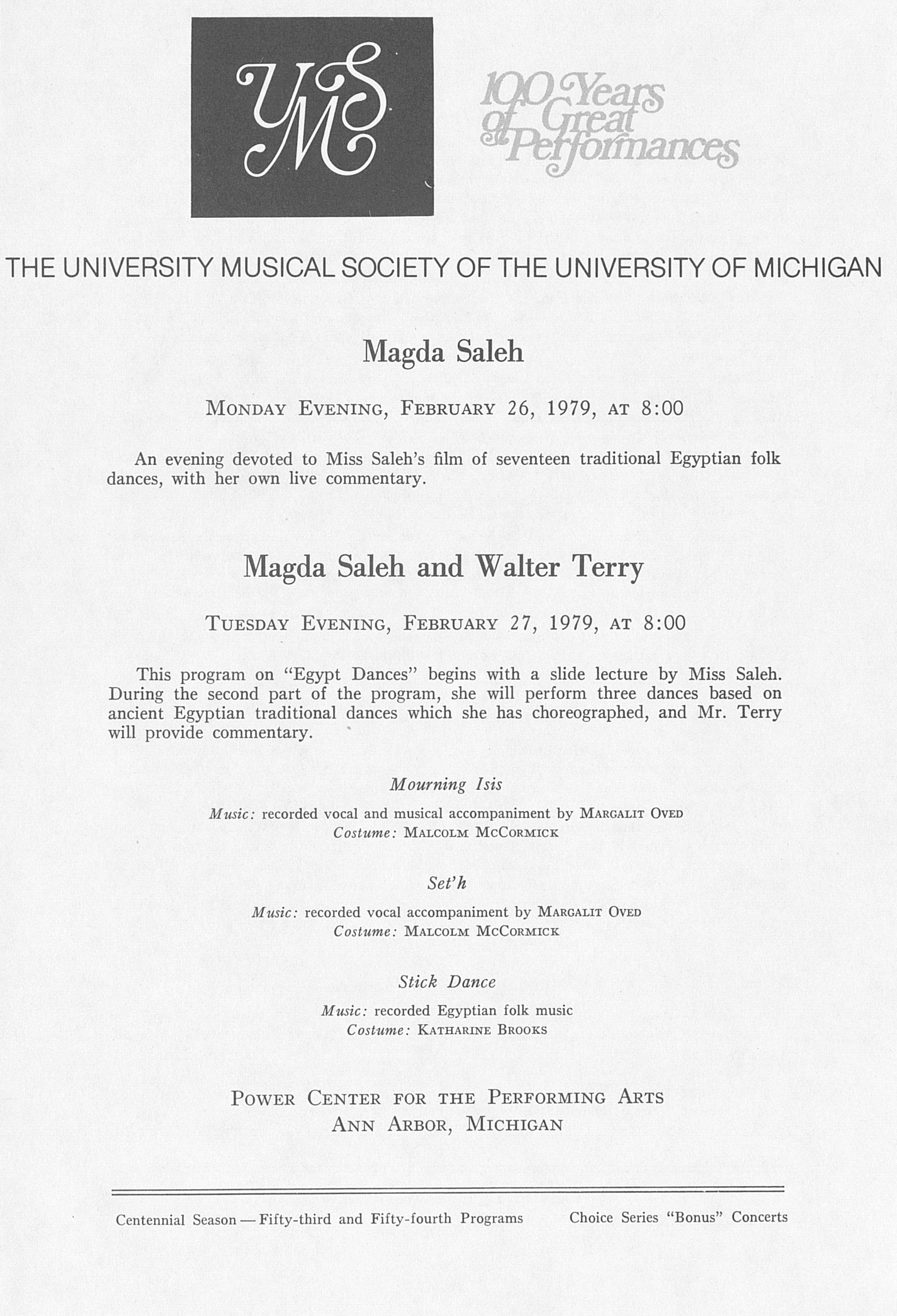 UMS Concert Program, February 26, 1979: Magda Saleh --  image