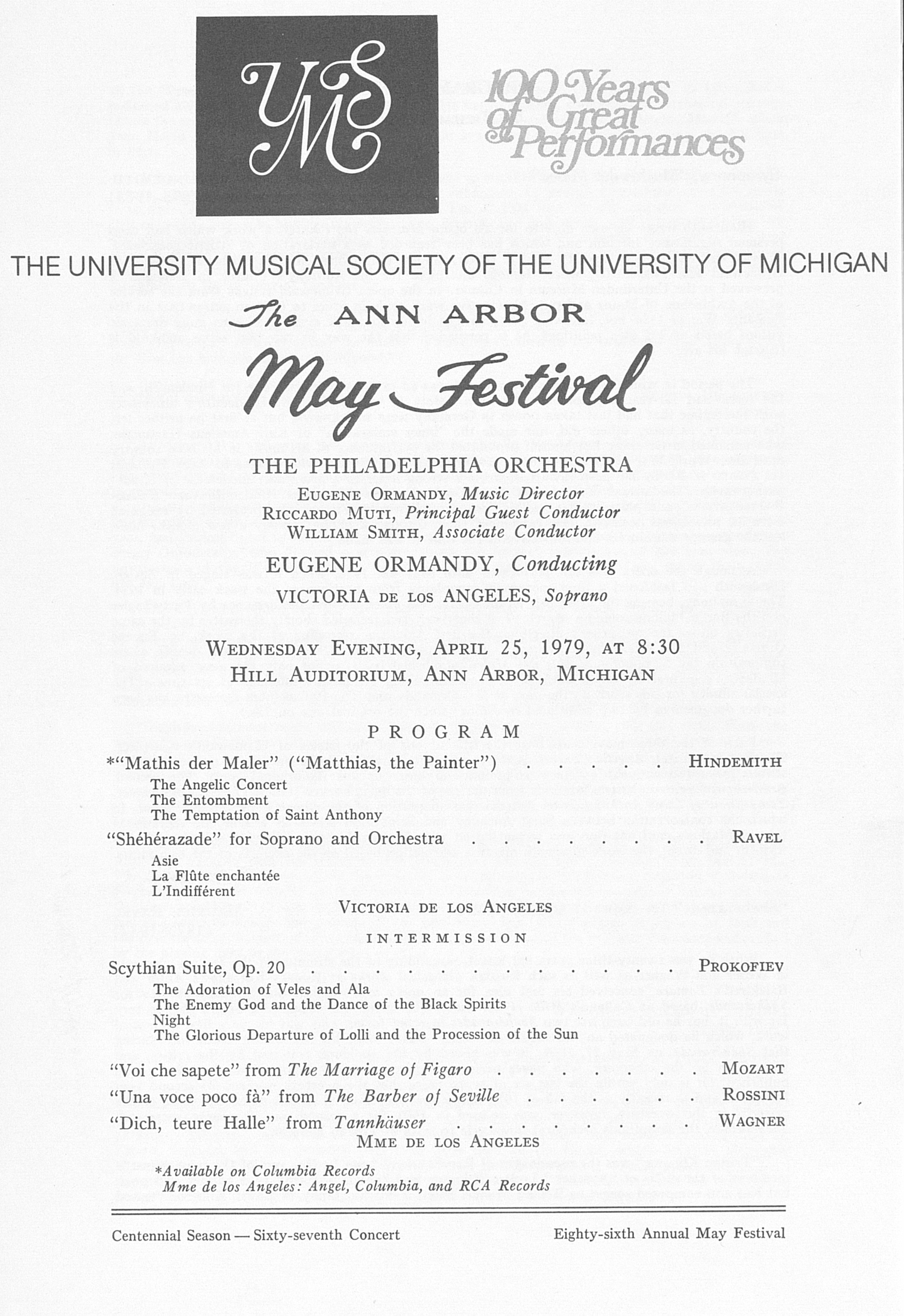 UMS Concert Program, April 25, 1979: The Ann Arbor May Festival -- The Philadelphia Orchestra image
