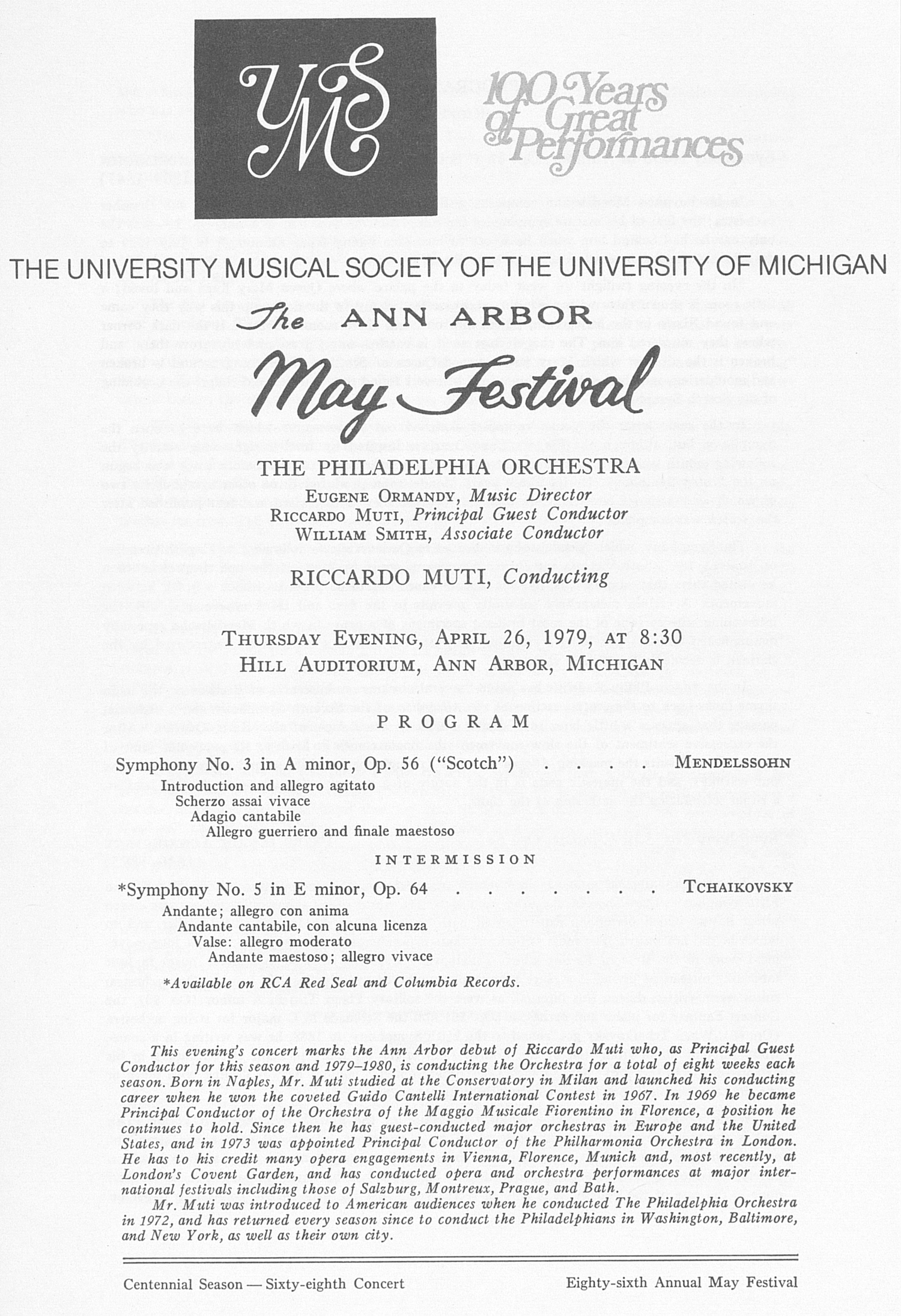 UMS Concert Program, April 26, 1979: The Ann Arbor May Festival -- The Philadelphia Orchestra image