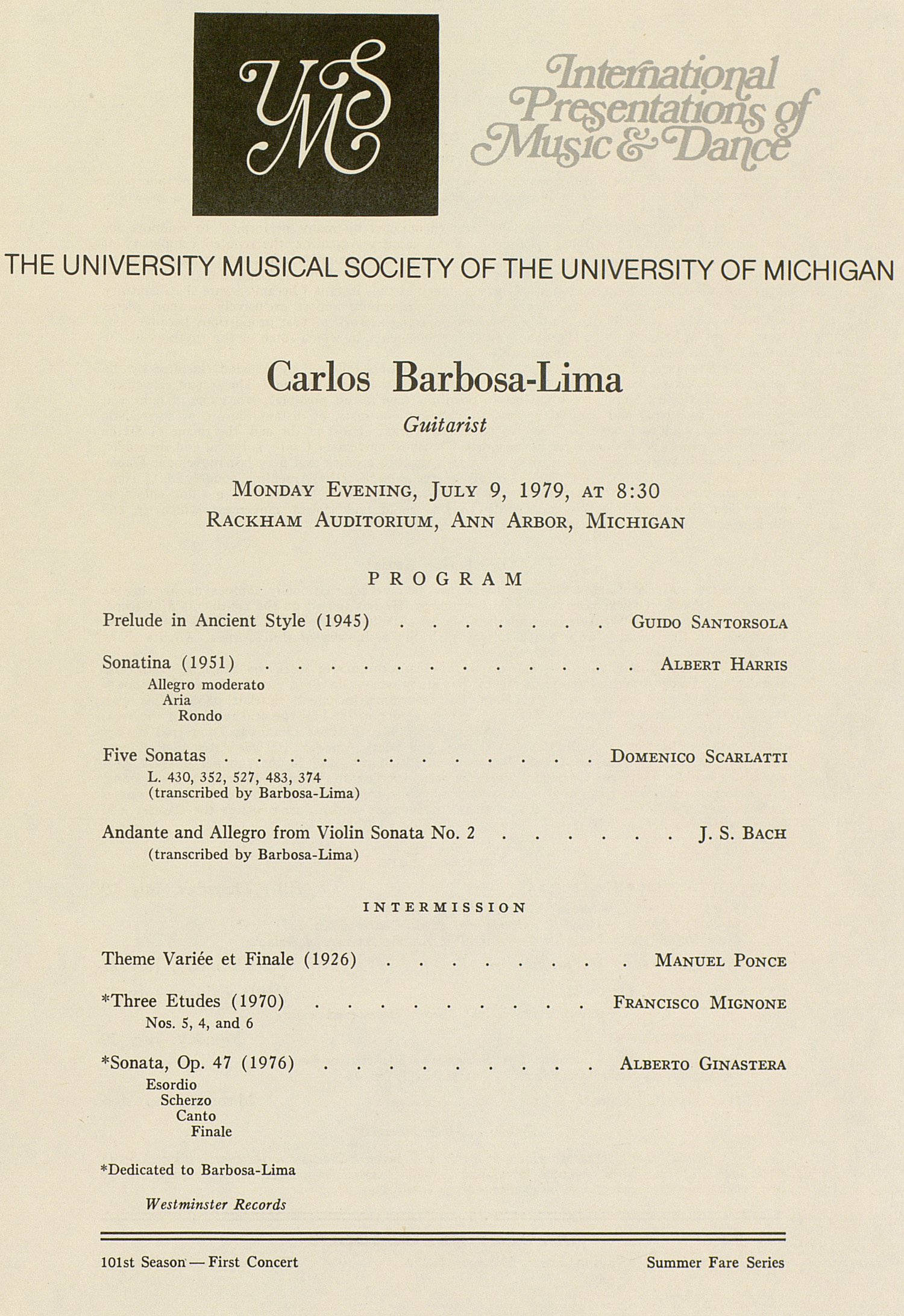 UMS Concert Program, July 9, 1979: International Presentations Of Music & Dance --  image