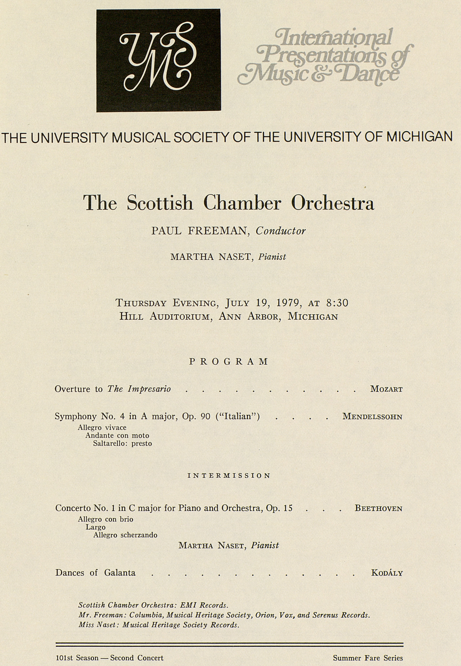 UMS Concert Program, July 19, 1979: International Presentations Of Music & Dance -- The Scottish Chamber Orchestra image