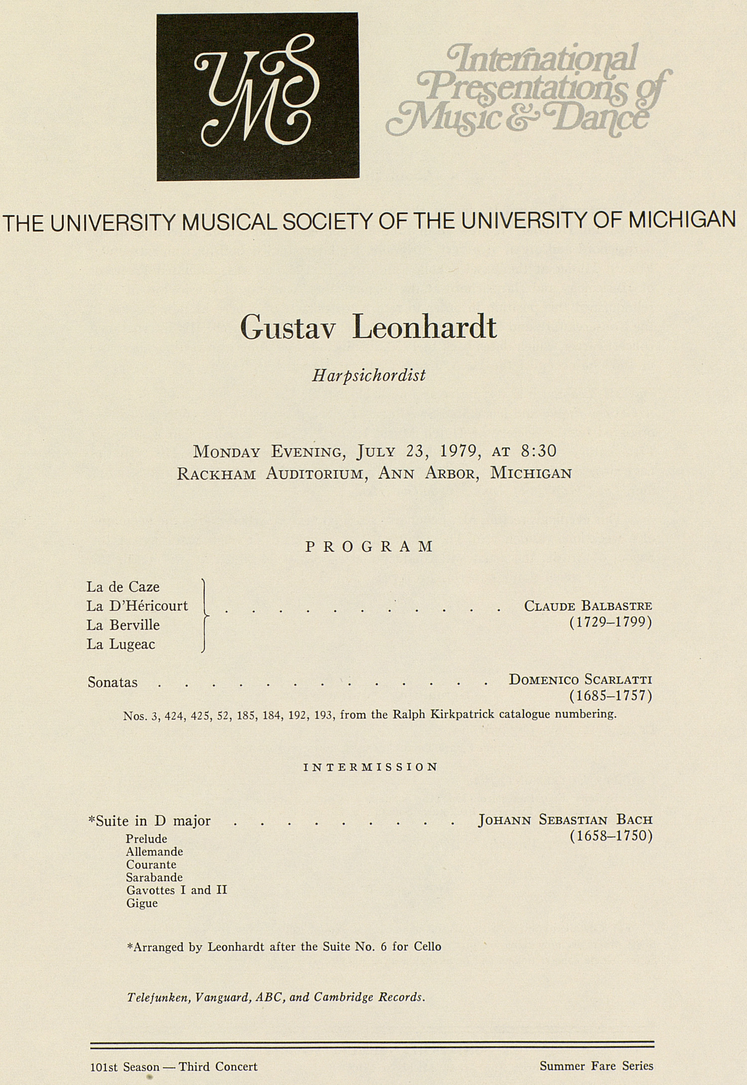 UMS Concert Program, July 23, 1979: International Presentations Of Music & Dance --  image