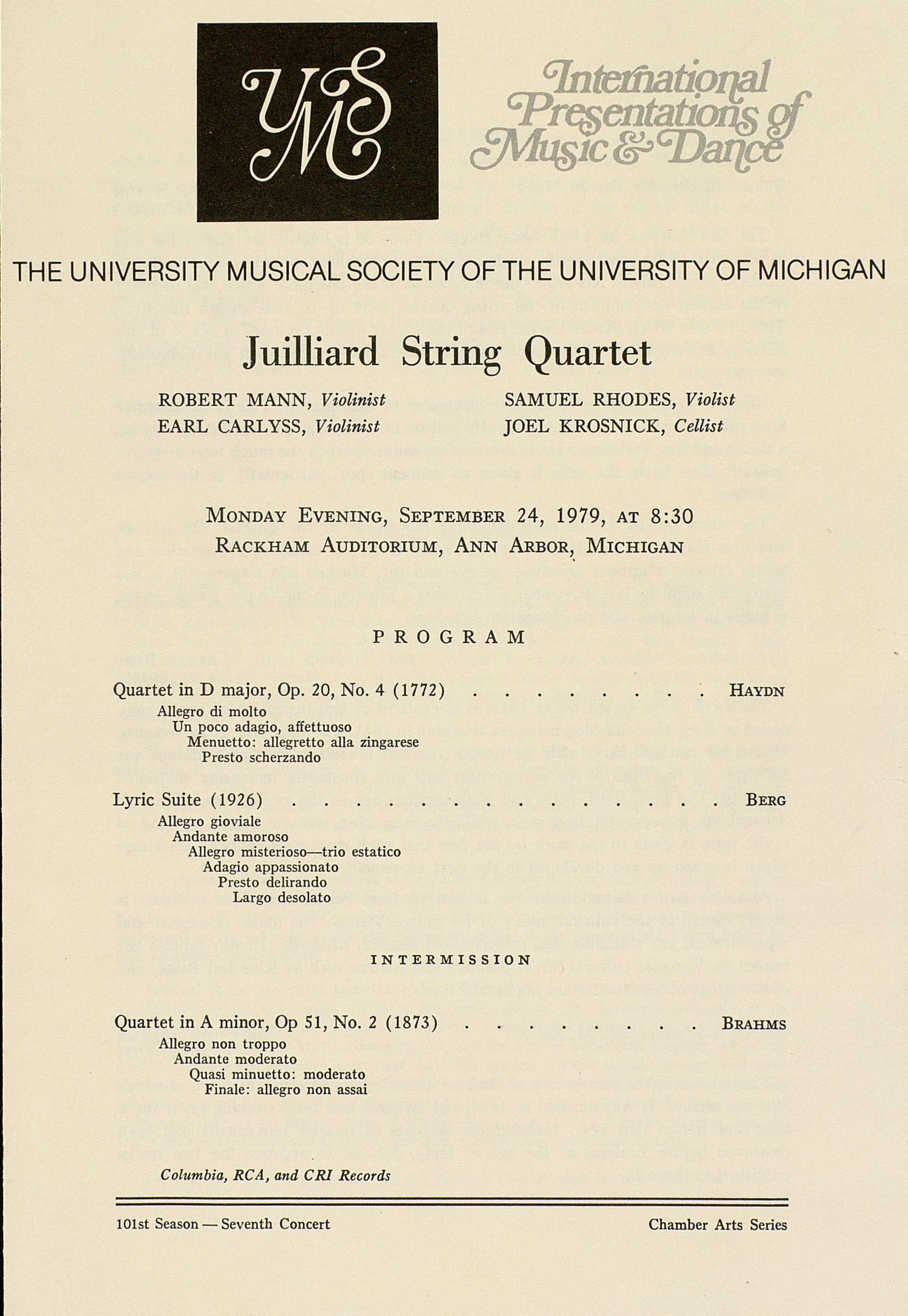 UMS Concert Program, September 24, 1979: Juilliard String Quartet --  image