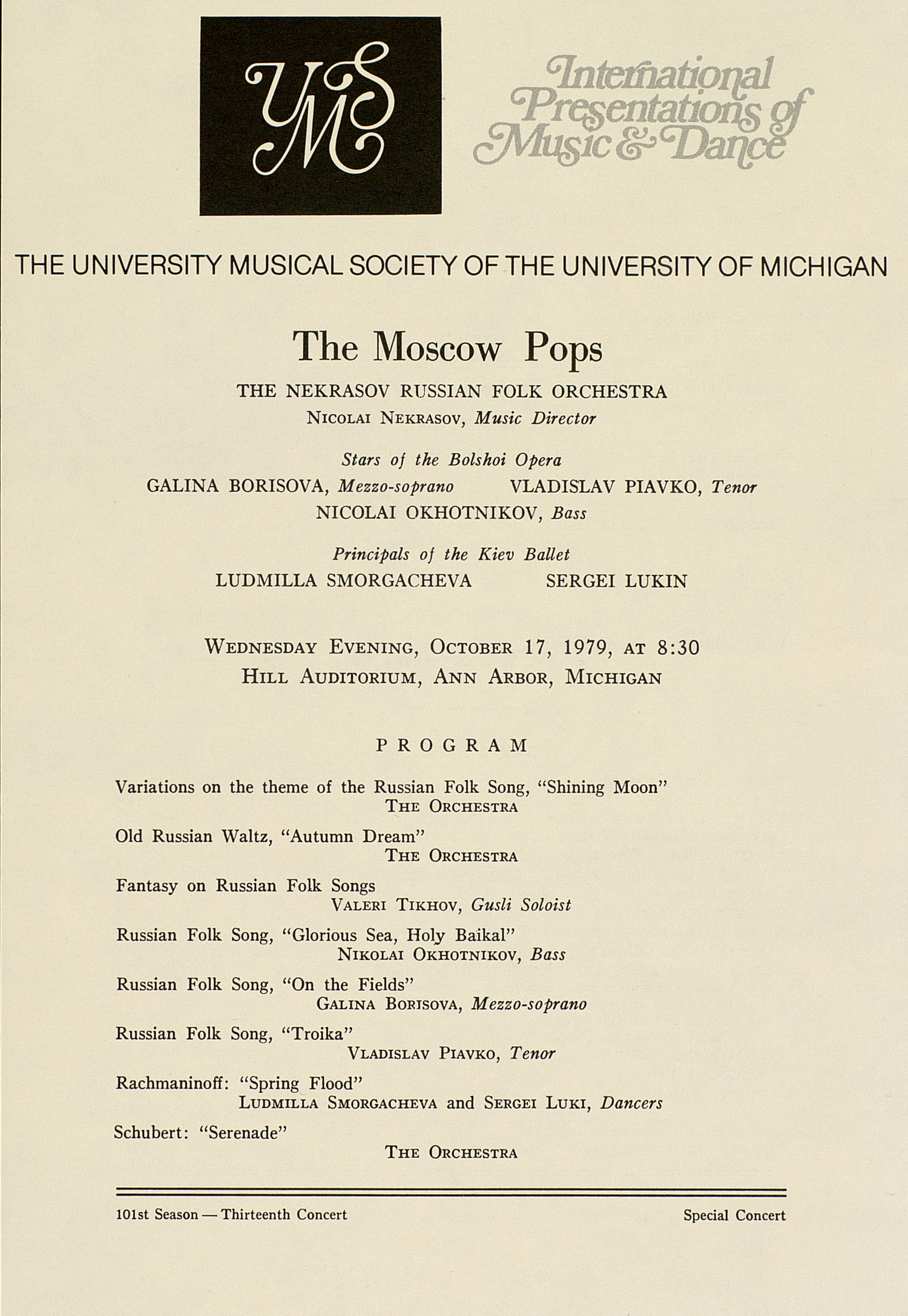 UMS Concert Program, October 17, 1979: The Moscow Pops -- The Nekrasov Russian Folk Orchestra image