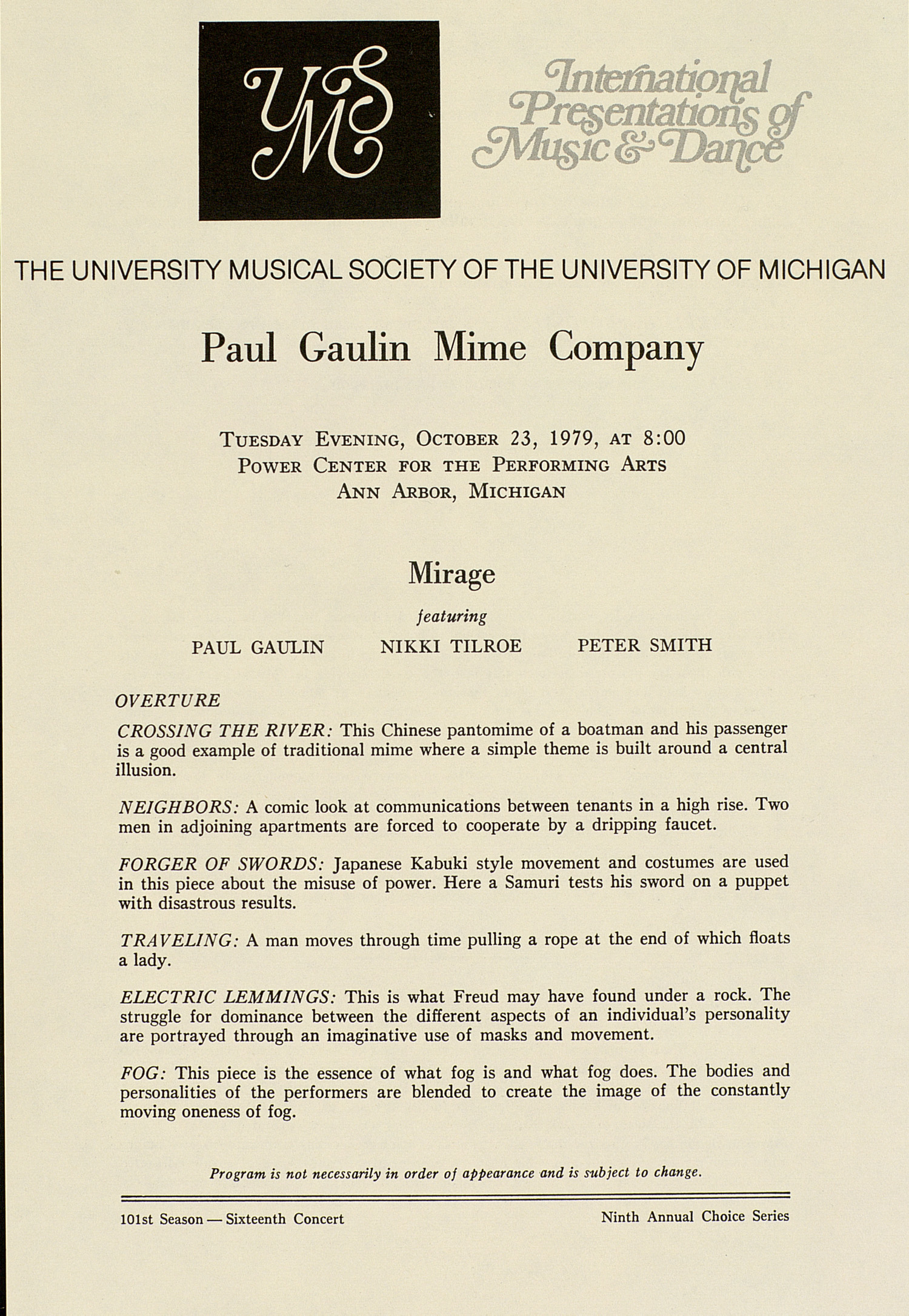 UMS Concert Program, October 23, 1979: International Presentations Of Music & Dance -- Paul Gaulin Mime Company image