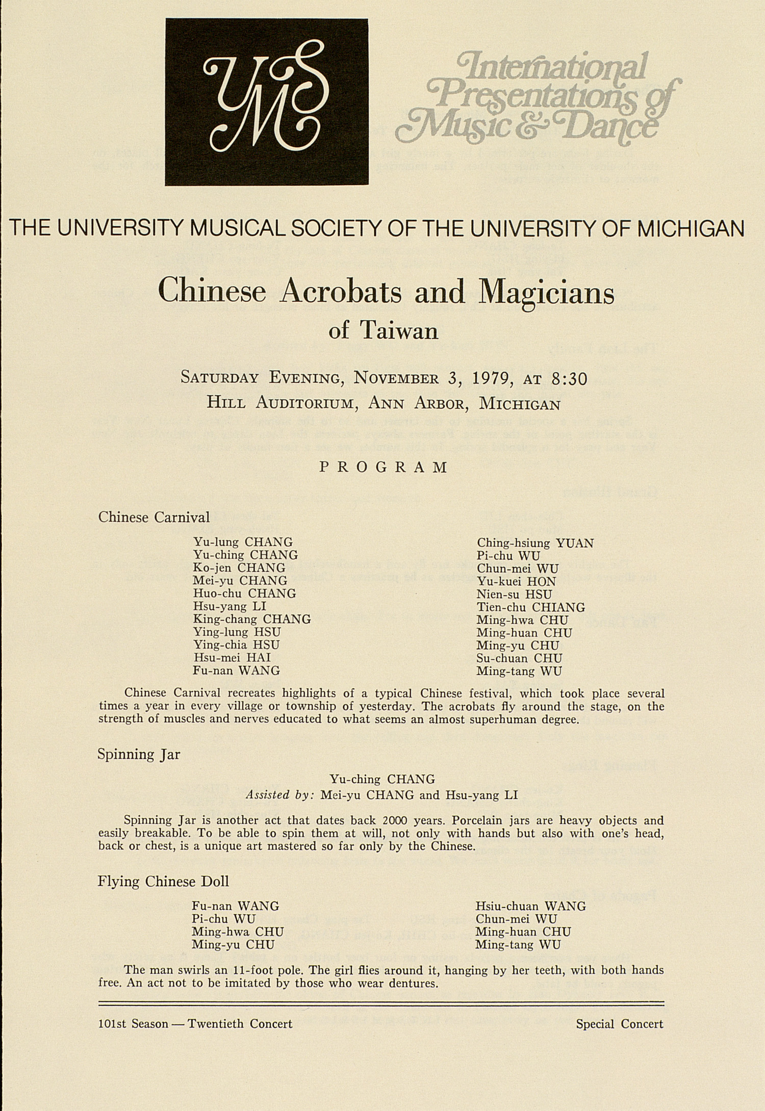 UMS Concert Program, November 3, 1979: Chinese Acrobats And Magicians --  image