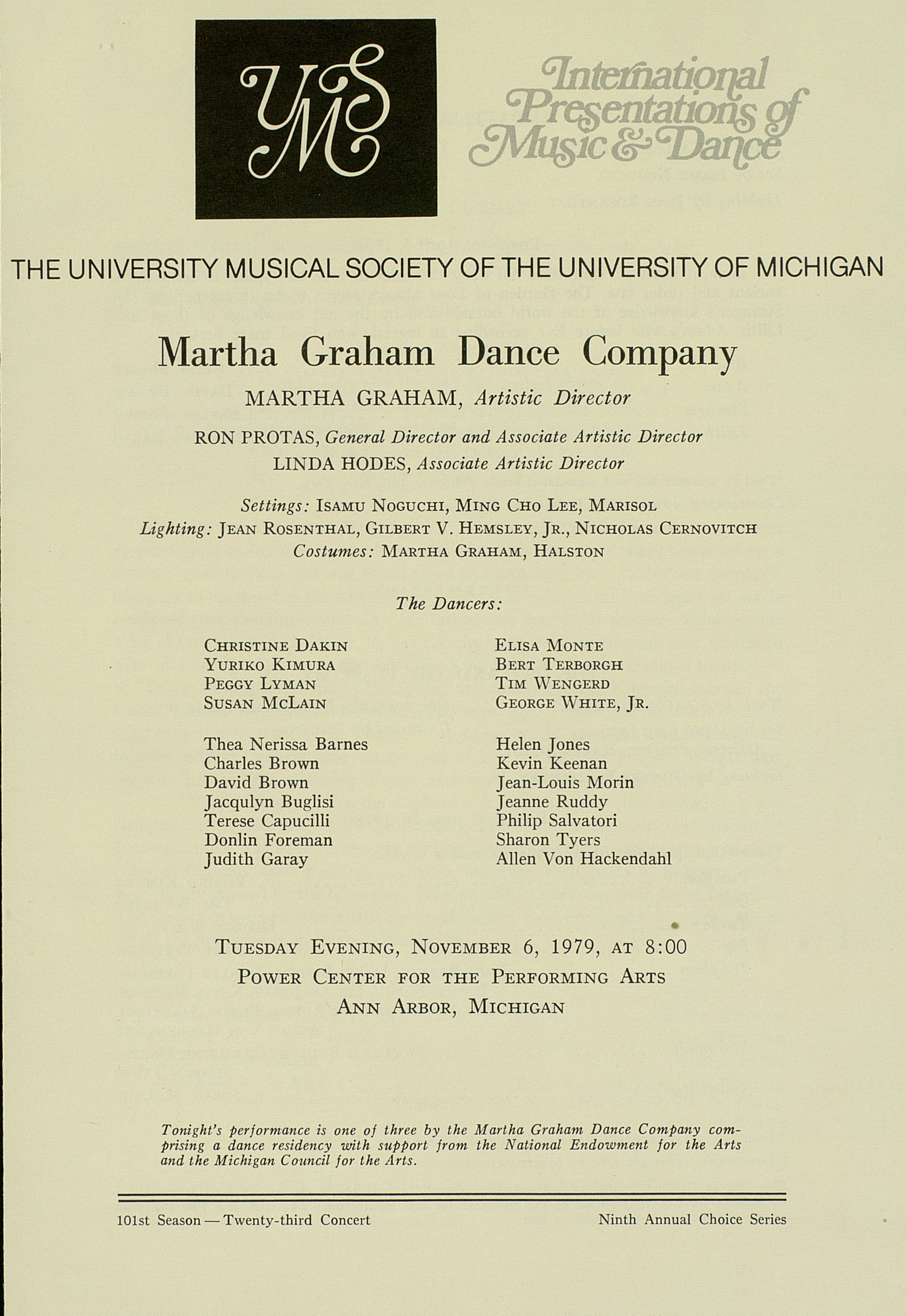 UMS Concert Program, November 6, 1979: International Presentations Of Music & Dance -- Martha Graham Dance Company image