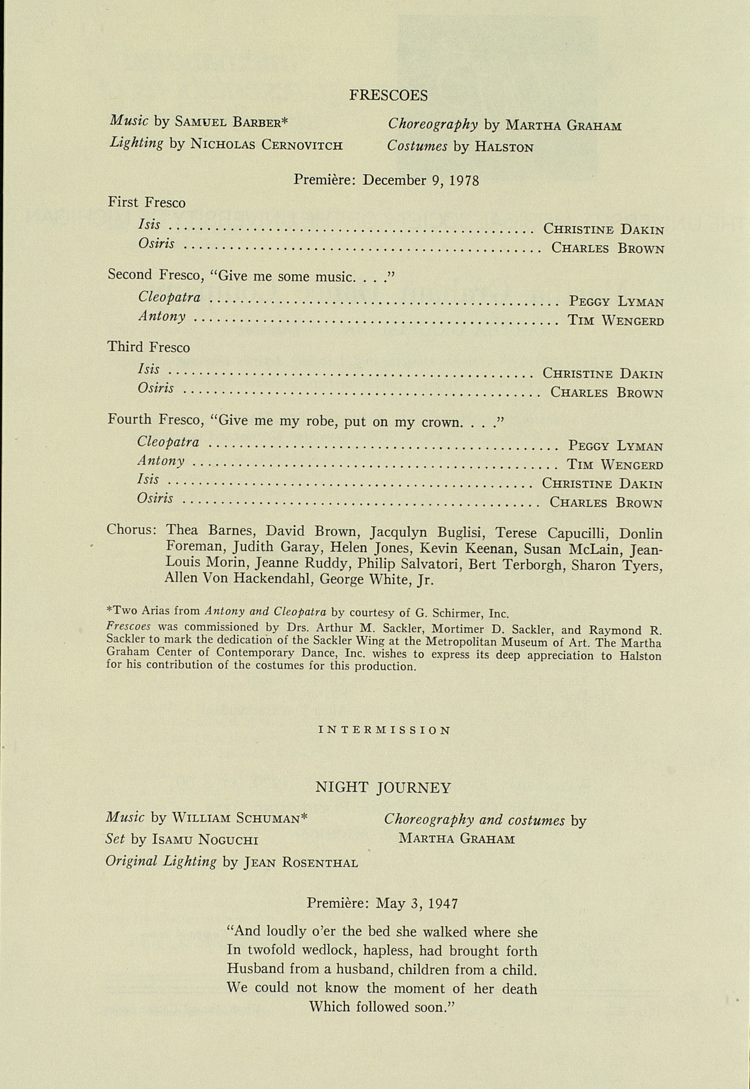 UMS Concert Program, November 7, 1979: International Presentations Of Music & Dance -- Martha Graham Dance Company image