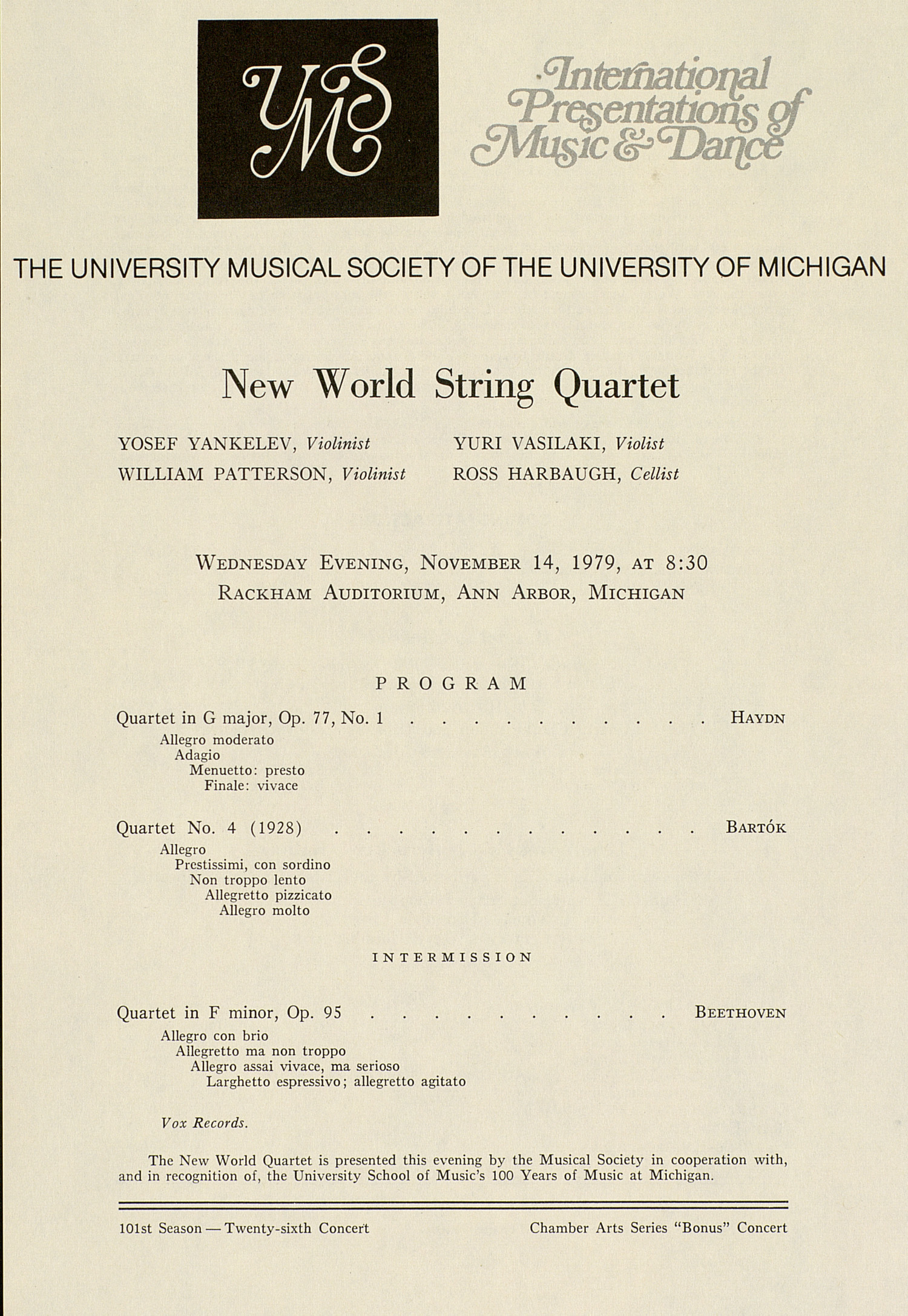 UMS Concert Program, November 14, 1979: New World String Quartet --  image