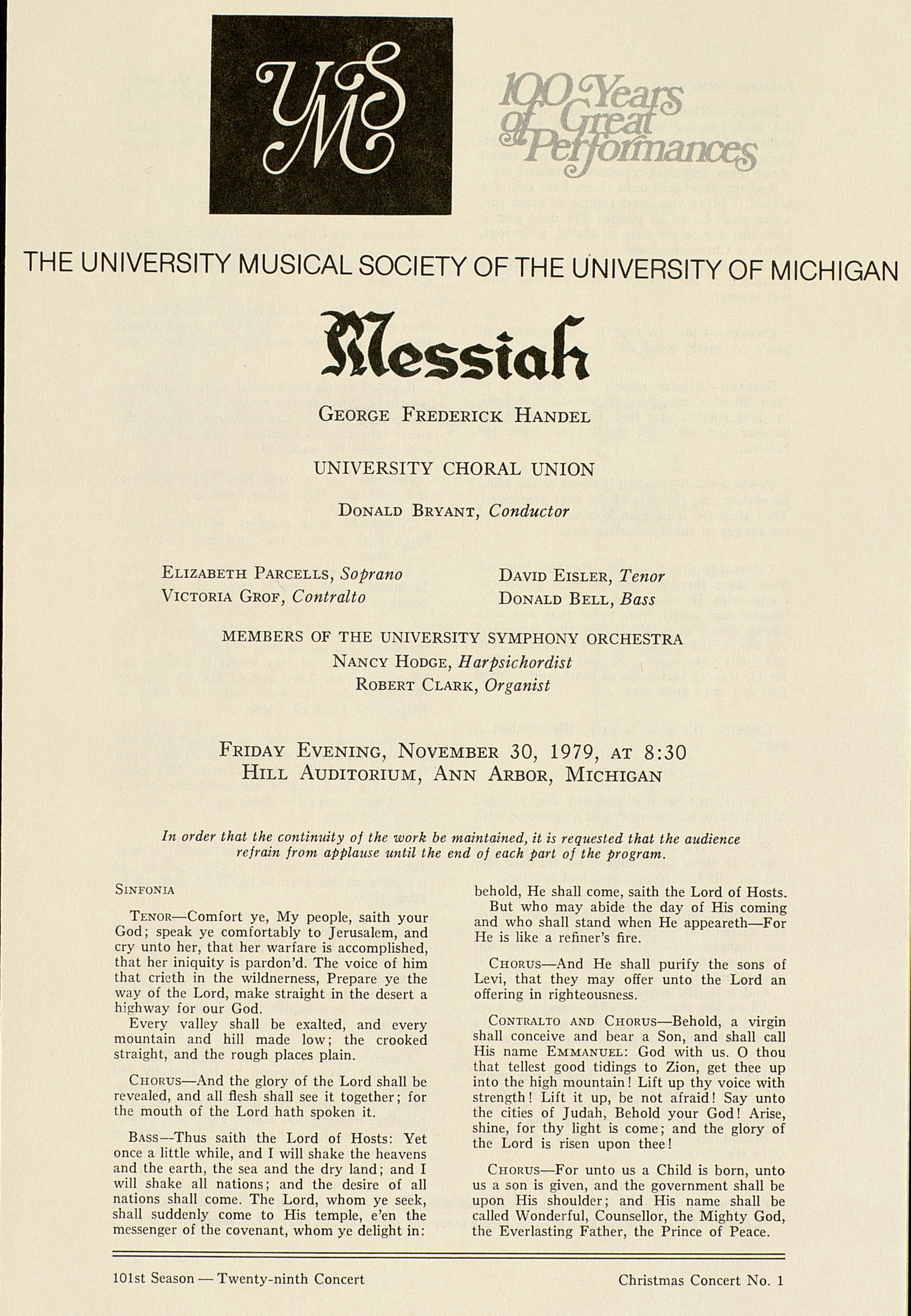 UMS Concert Program, November 30, 1979: Messiah -- George Frederick Handel image