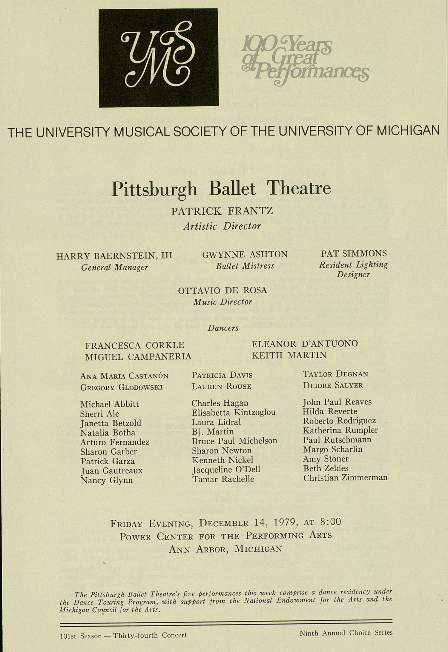 UMS Concert Program, December 14, 1979: 100 Years Of Great Performances -- Pittsburgh Ballet Theatre image