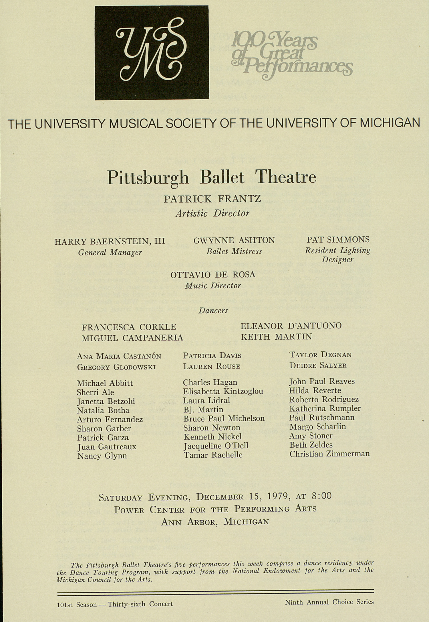 UMS Concert Program, December 15, 1979: 100 Years Of Great Performances -- Pittsburgh Ballet Theatre image
