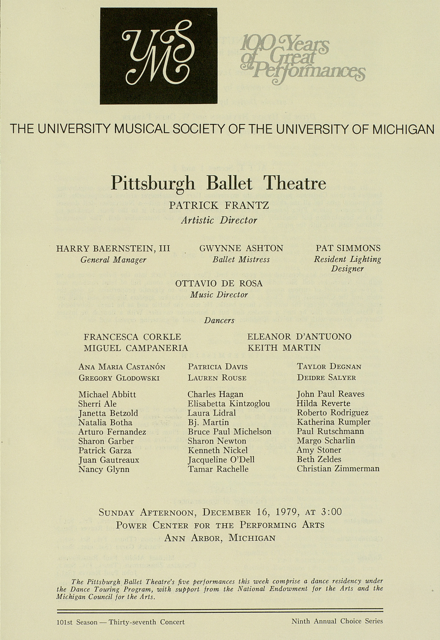 UMS Concert Program, December 16, 1979: 100 Years Of Great Performances -- Pittsburgh Ballet Theatre image